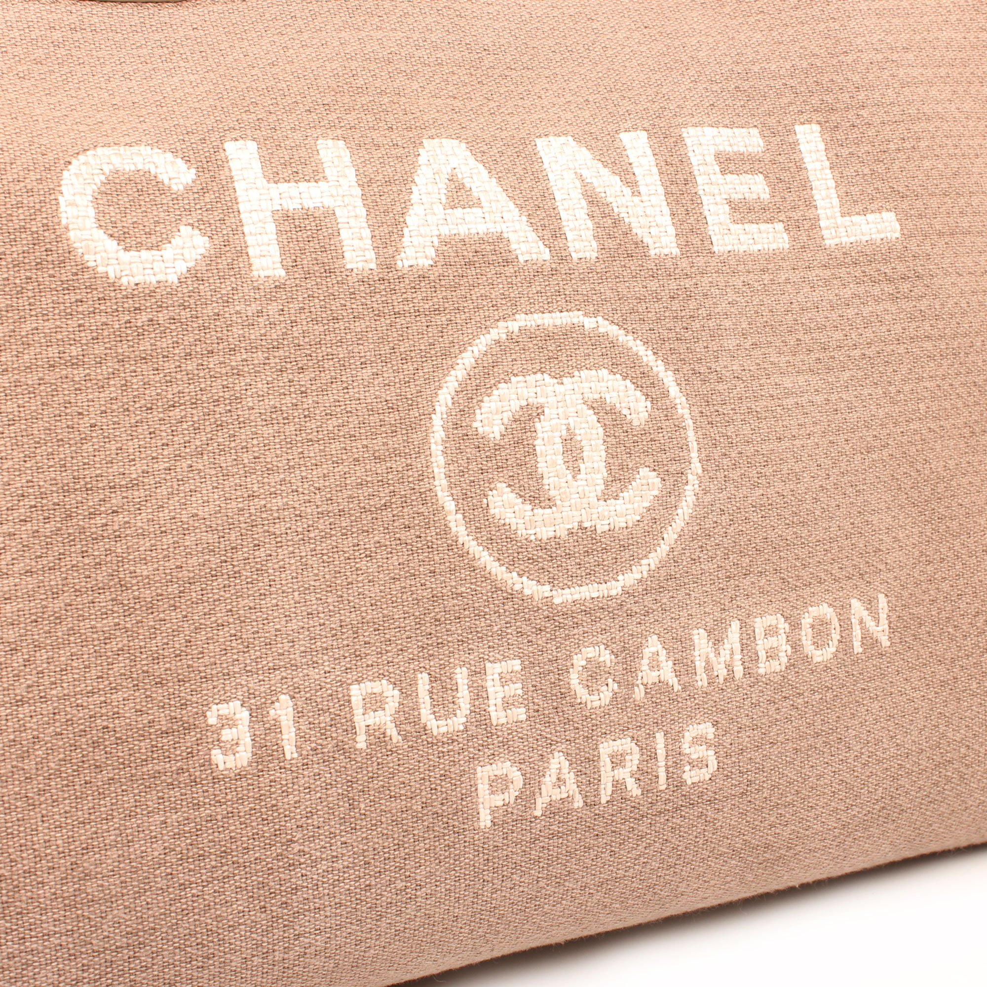Lettering image of chanel ecru deauville tote bag interior