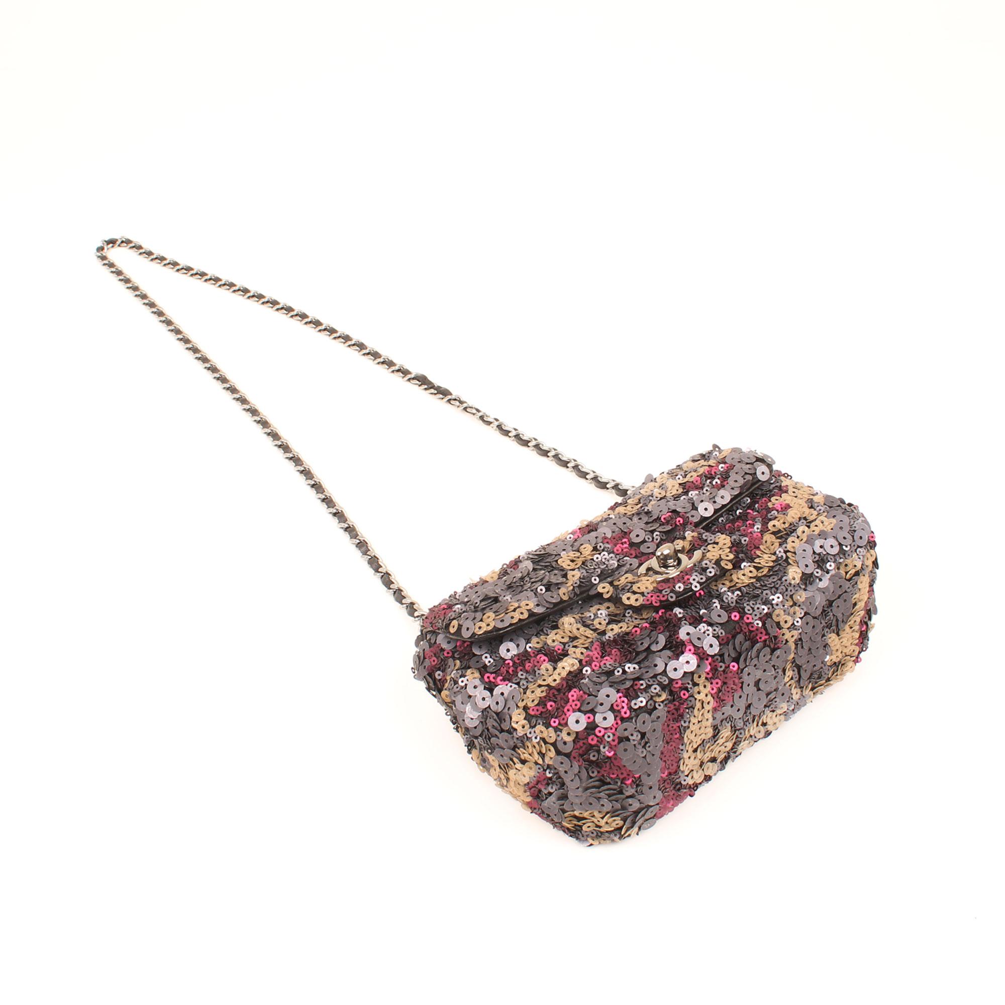 2c82ba838af1 Chanel Mini Classic Flap Bag Sequins Metallic Multicolor I CBL Bags