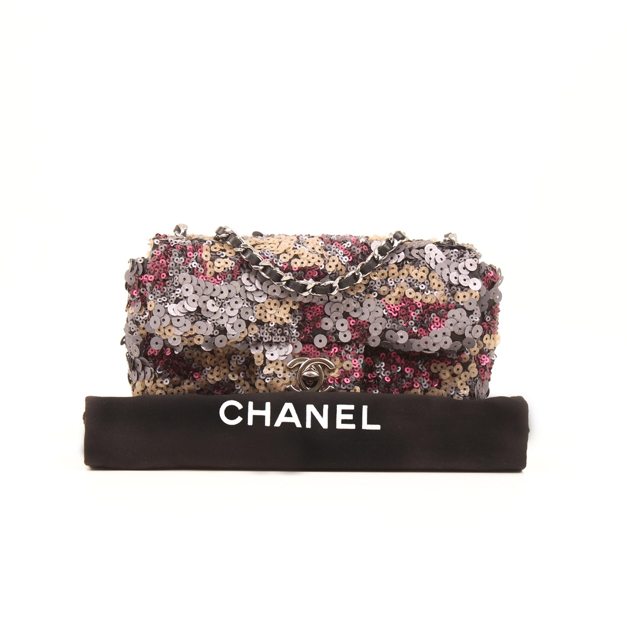 Imagen del dustbag del bolso chanel mini classic flap lentejuelas multicolor