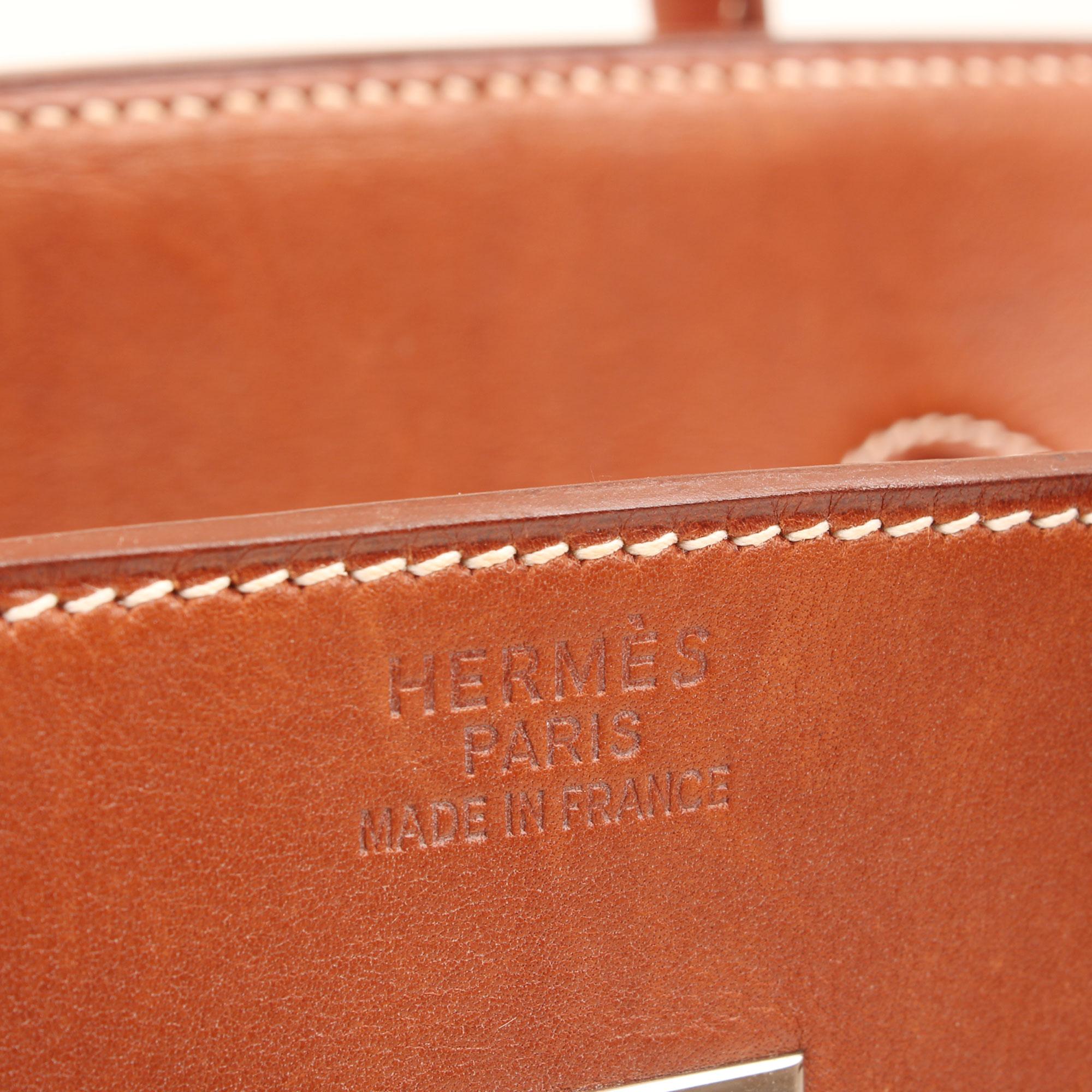 Imagen de la firma del bolso hermes birkin 35 barenia y lona