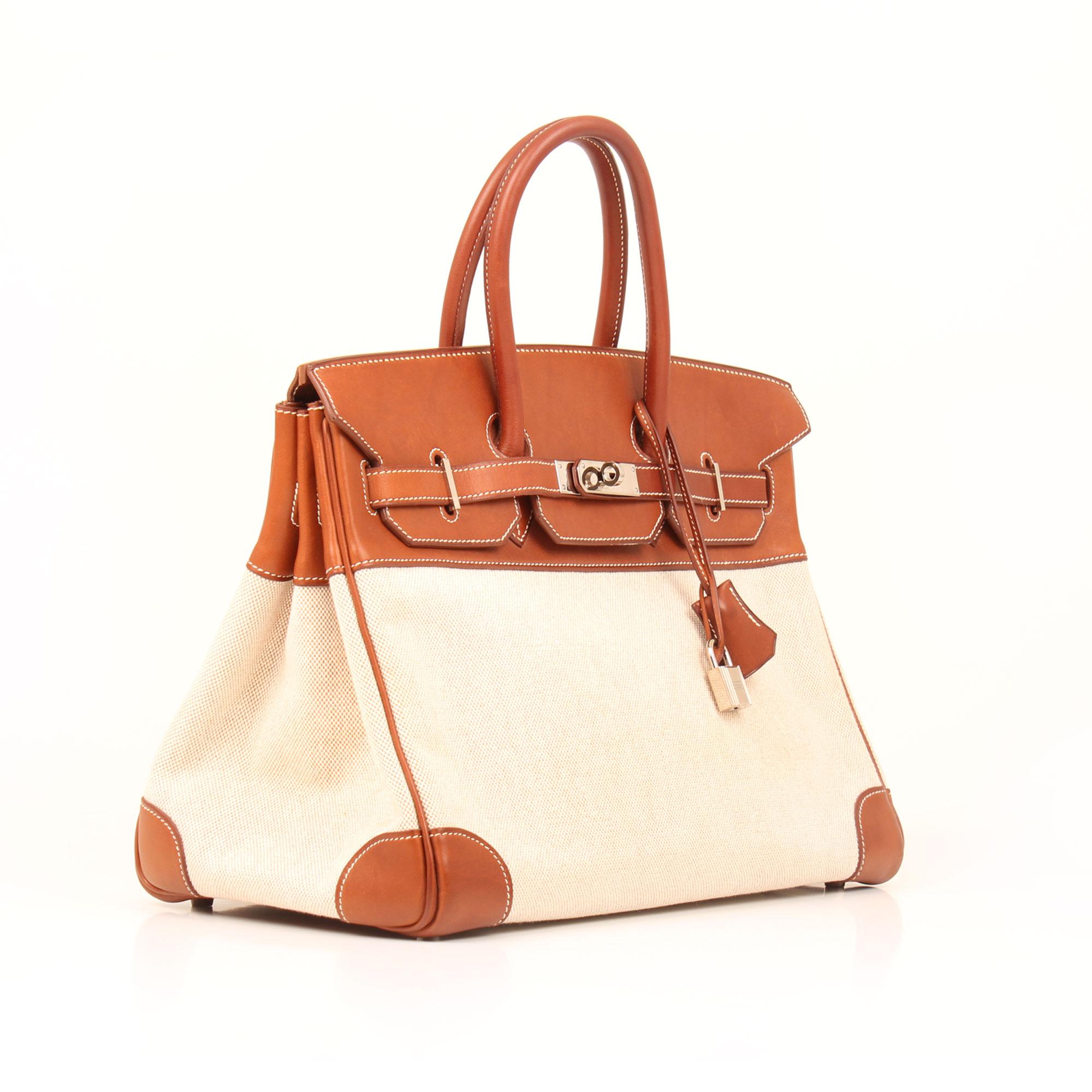 Hermès Birkin 35 Bag Barenia and Toile H canvas  a0223bfcce7eb