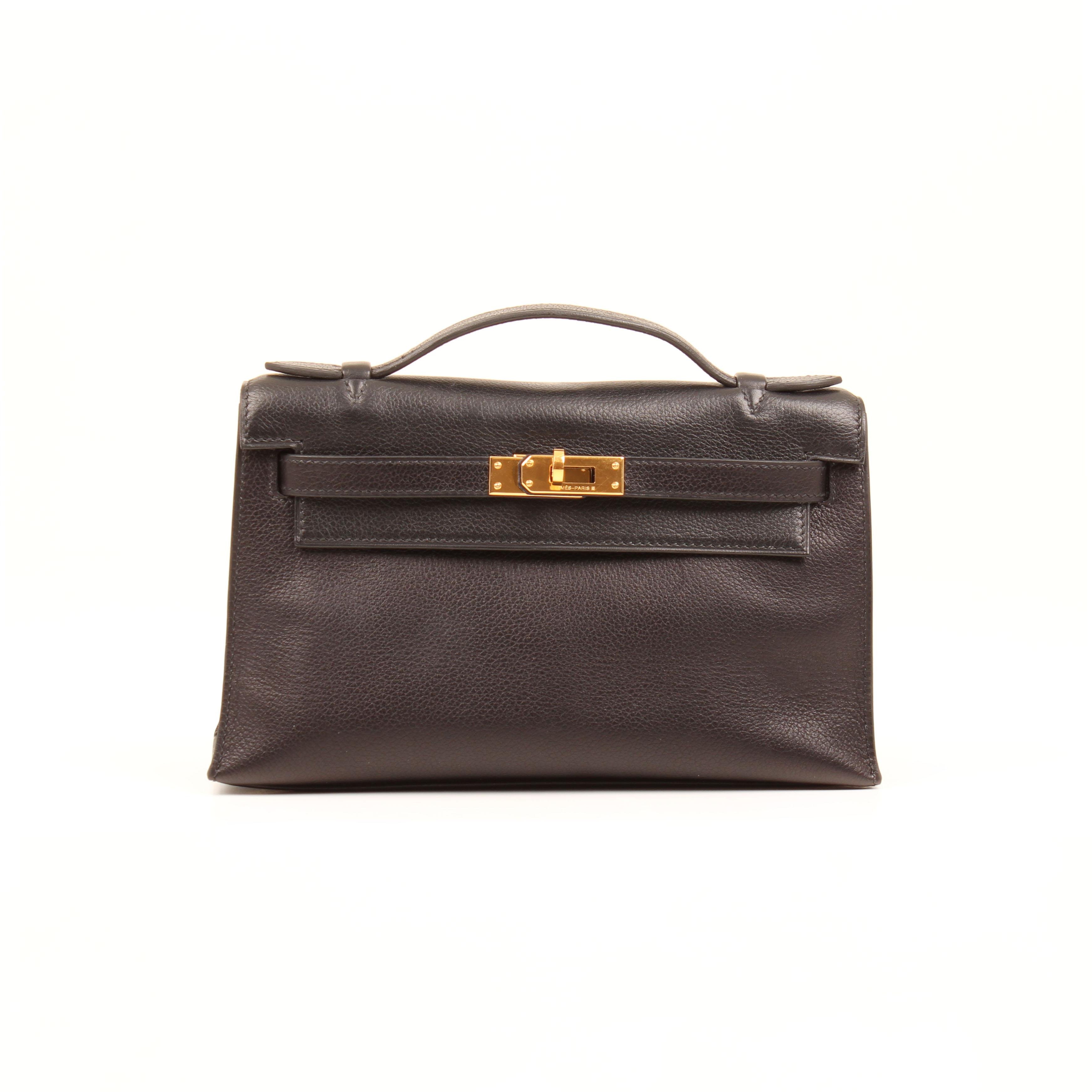 hermes kelly pochette bag black evergrain leather front