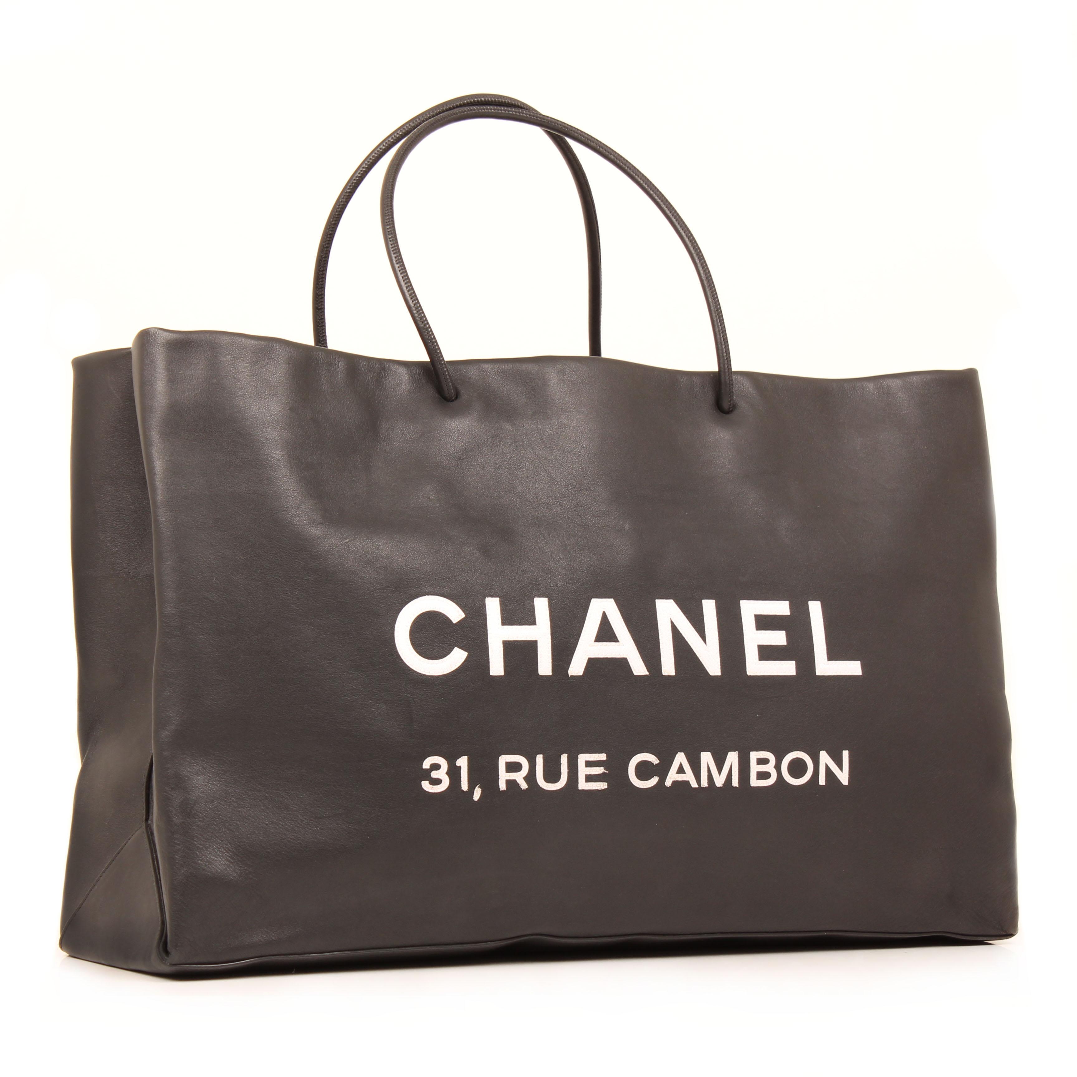Imagen general del bolso tote chanel 31 rue cambon piel negro