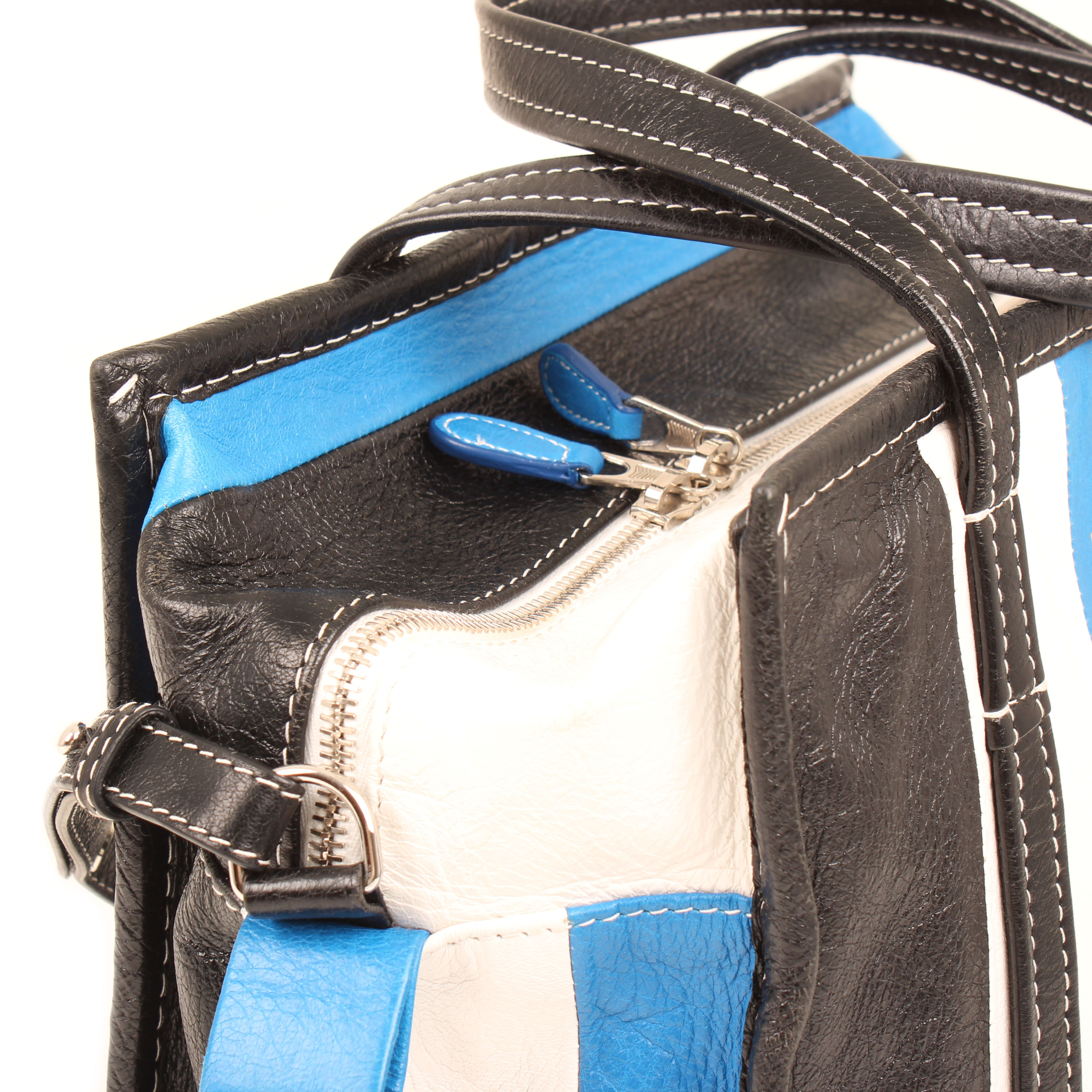 bolso balenciaga bazar shopper s arena rayado azul blanco negro piel cremallera