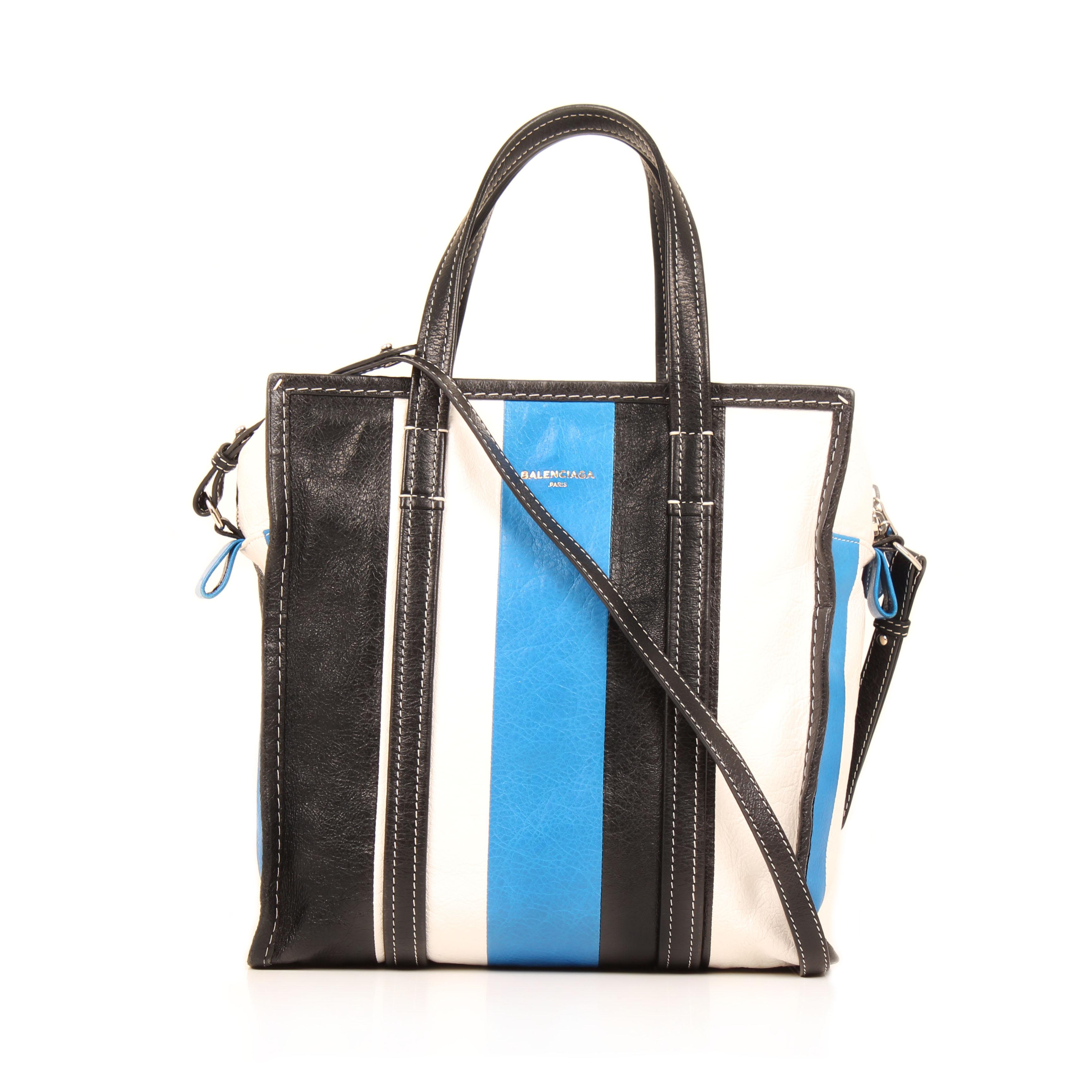 bolso balenciaga bazar shopper s arena rayado azul blanco negro piel frontal