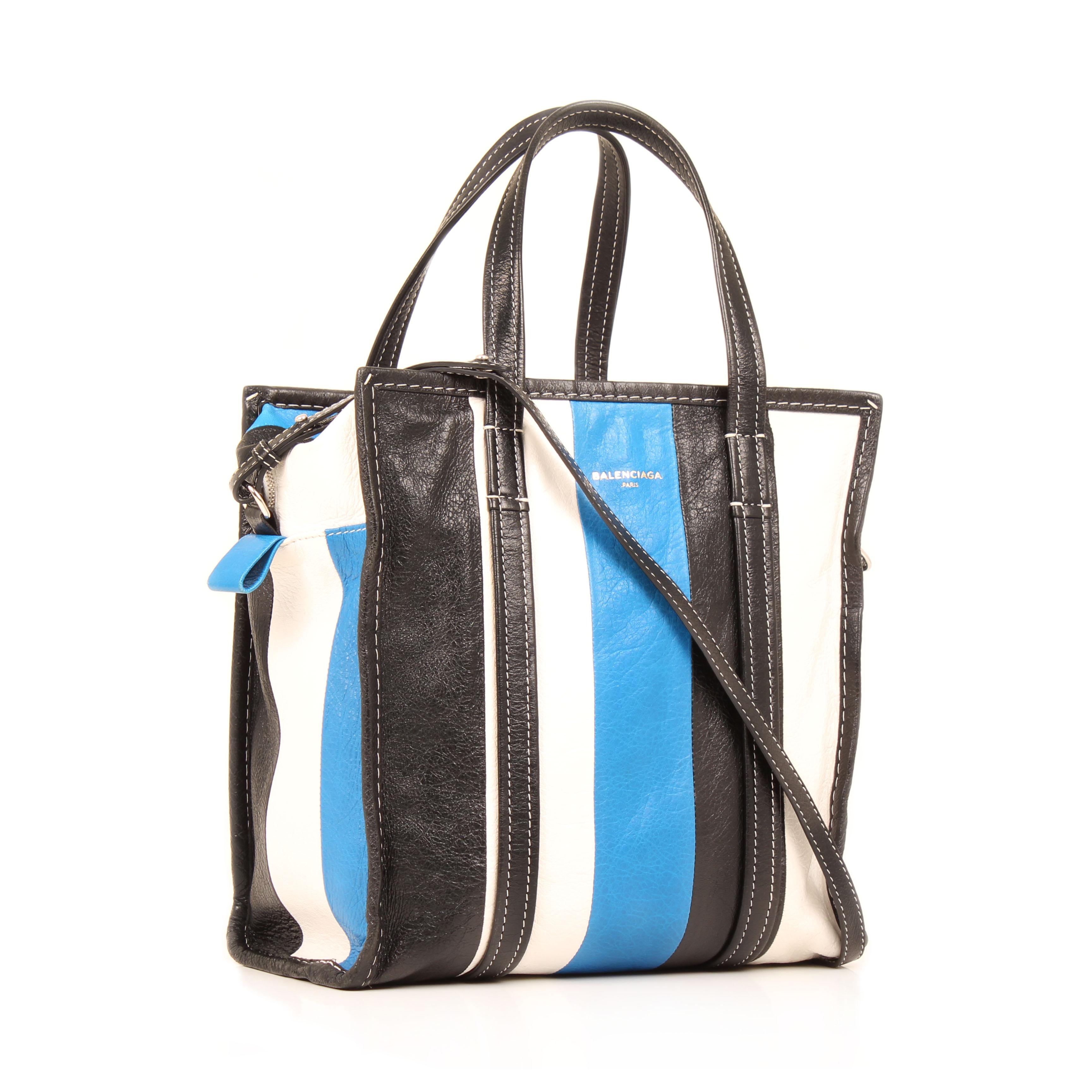 bolso balenciaga bazar shopper s arena rayado azul blanco negro piel general