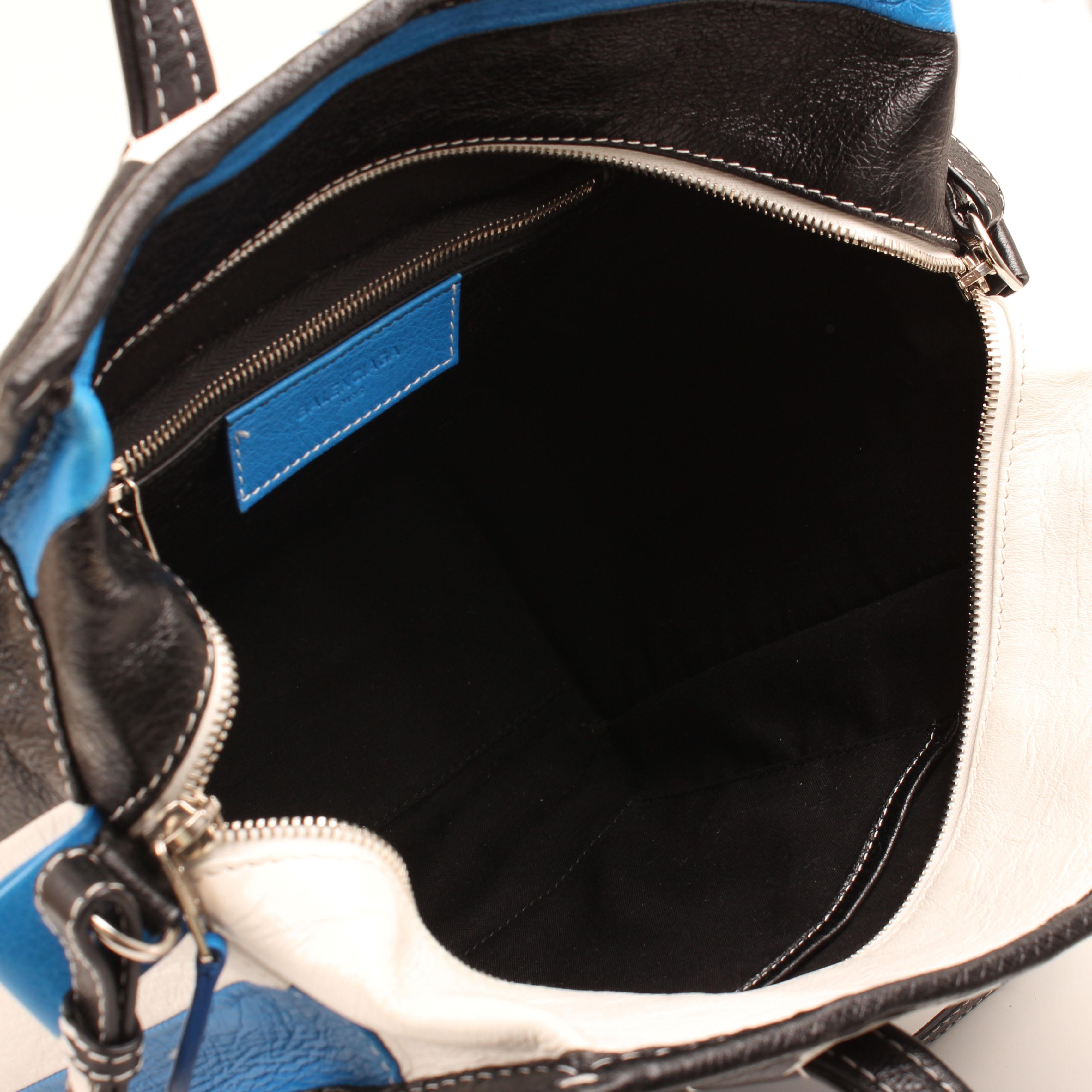 bolso balenciaga bazar shopper s arena rayado azul blanco negro piel interior