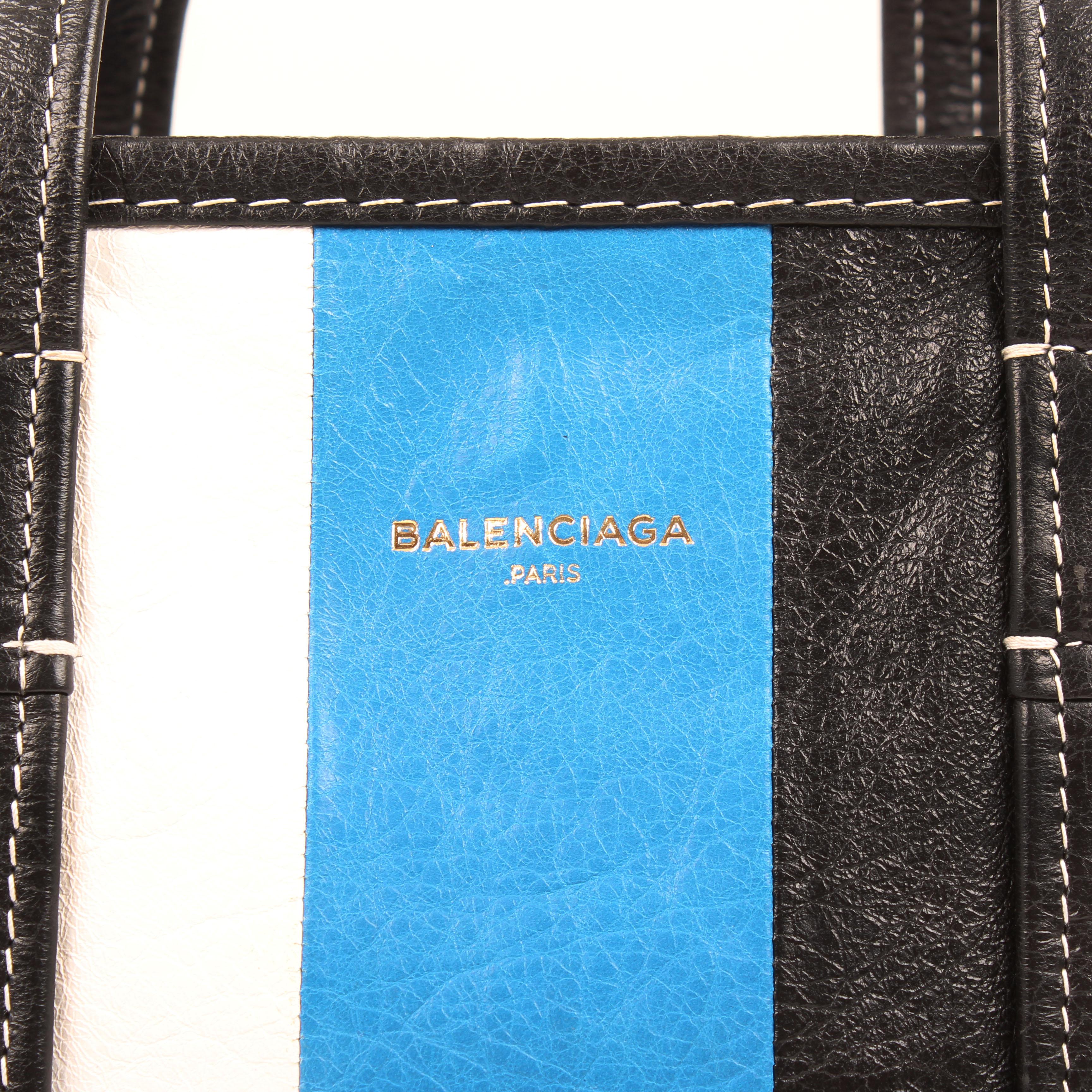 bolso balenciaga bazar shopper s arena rayado azul blanco negro piel logo