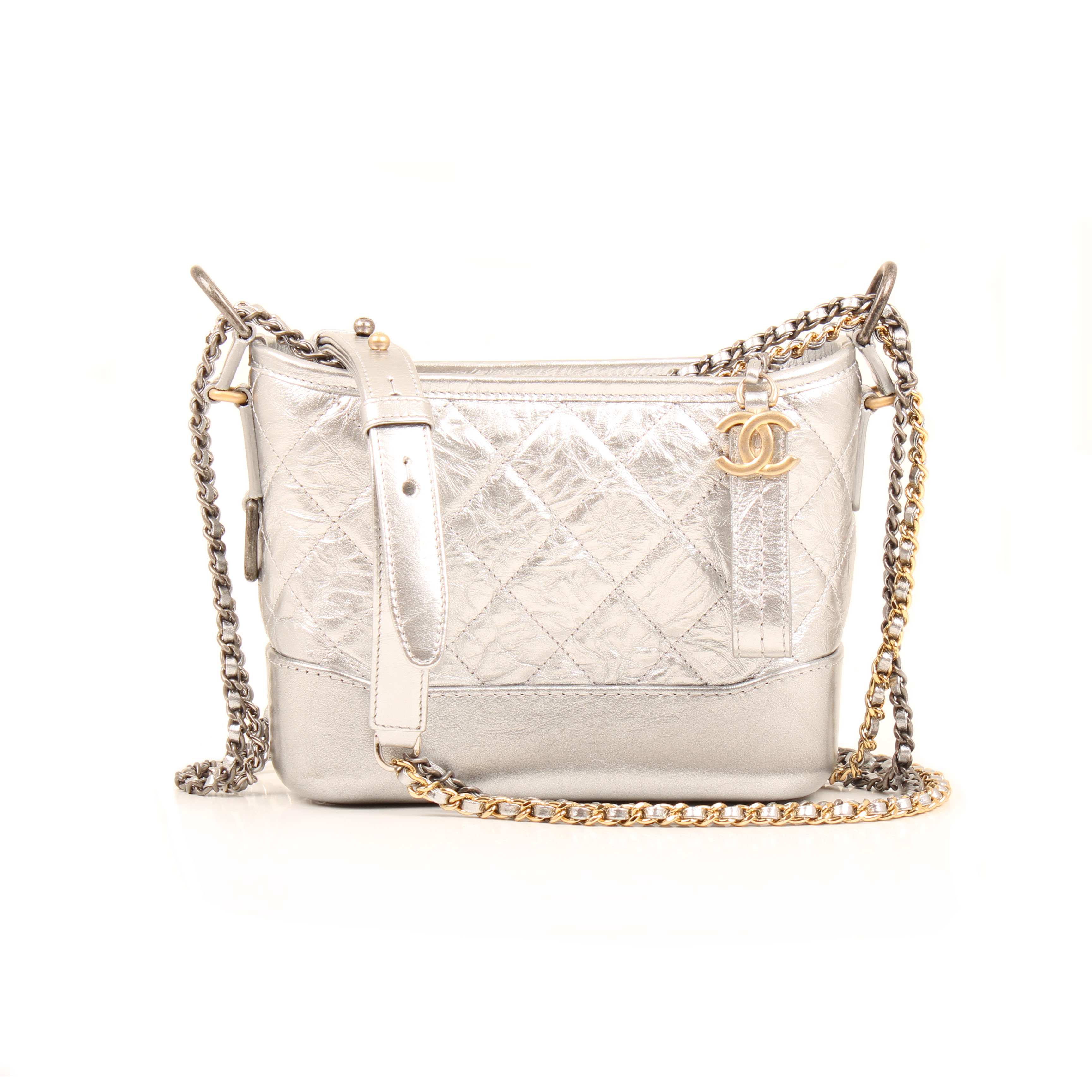 chanel gabrielle small hobo bag silver aged calfskin front chain