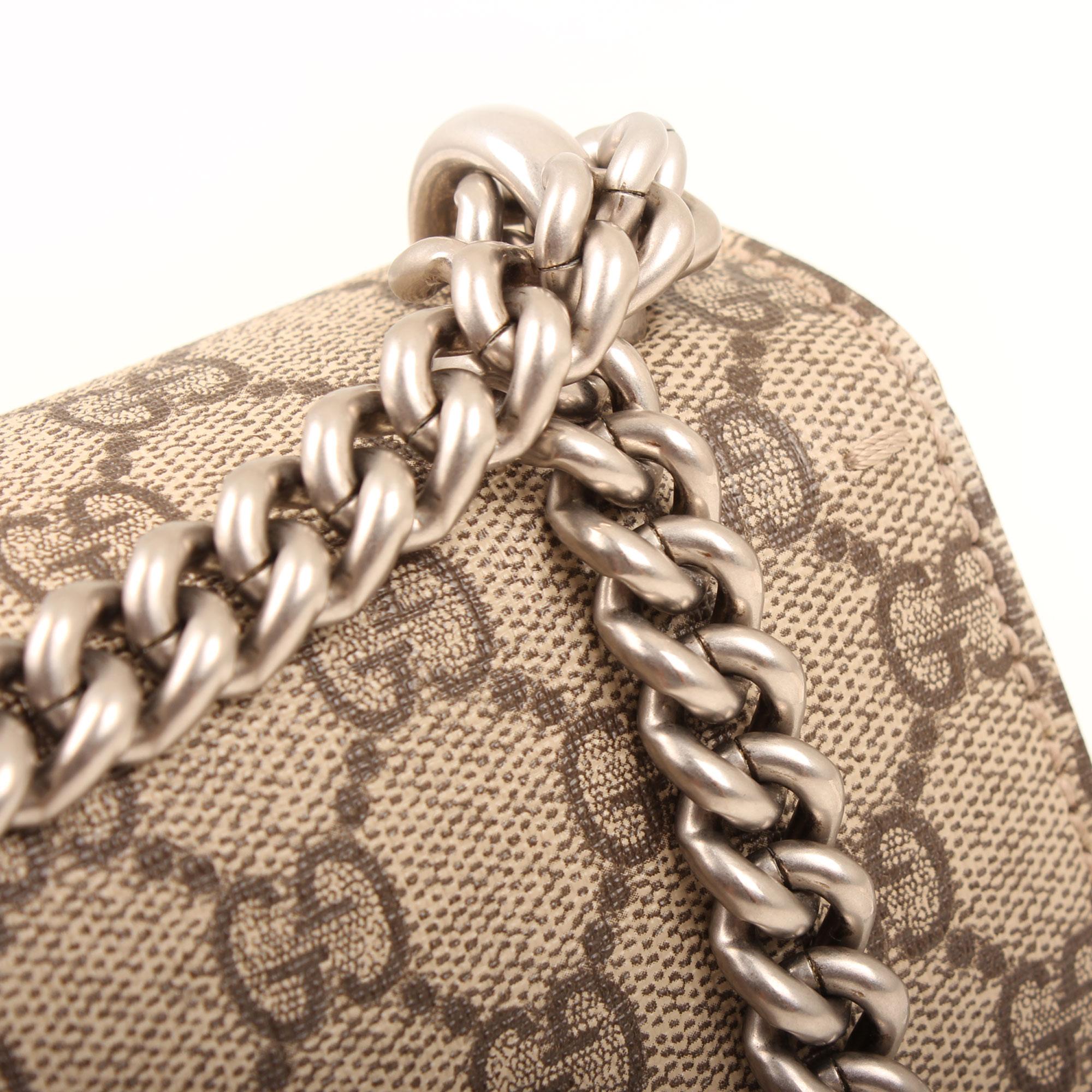 Imagen de detalle de la cadena del bolso gucci dyonisus gg supreme mini