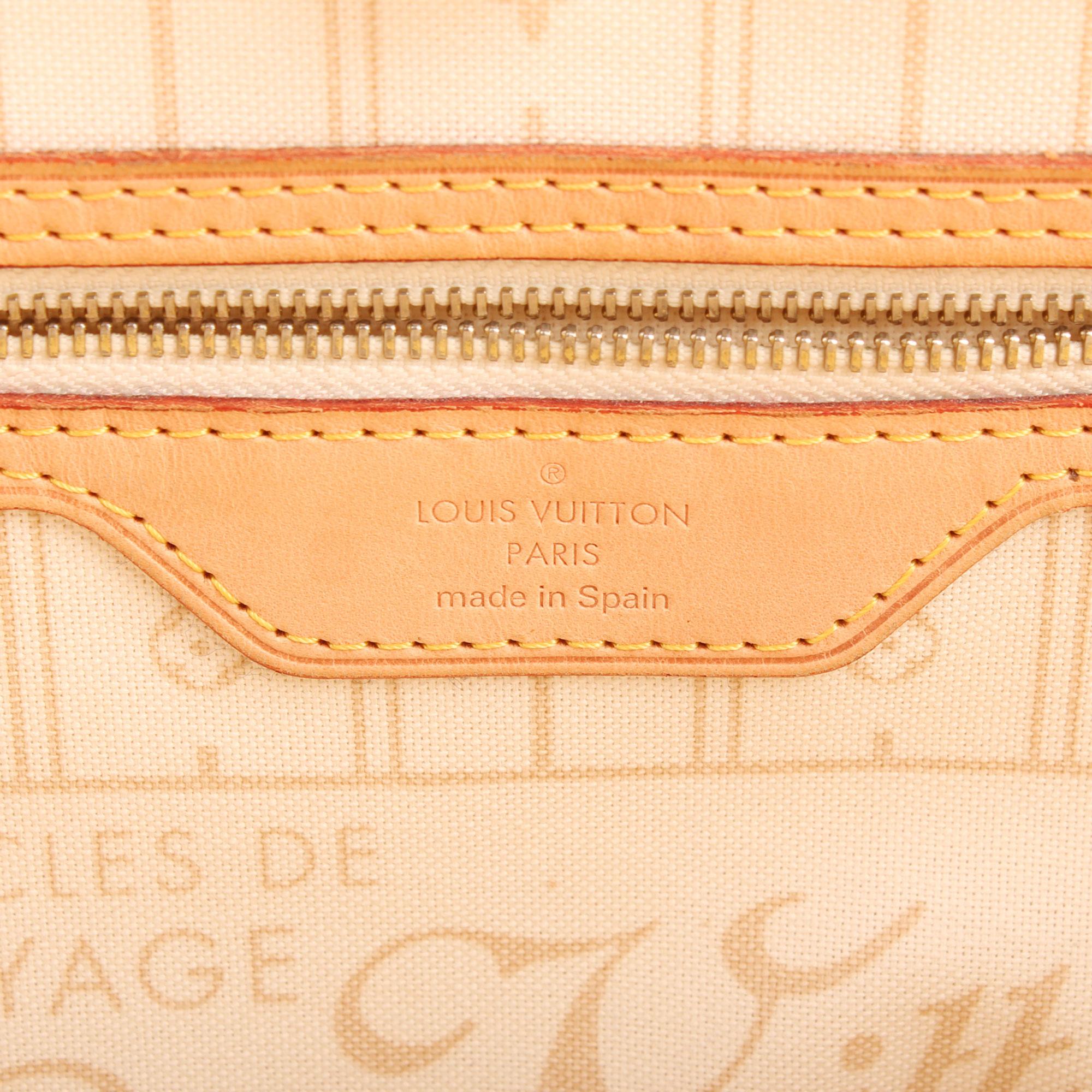 Imagen de la etiqueta del bolso louis vuitton neverfull mm damier azur