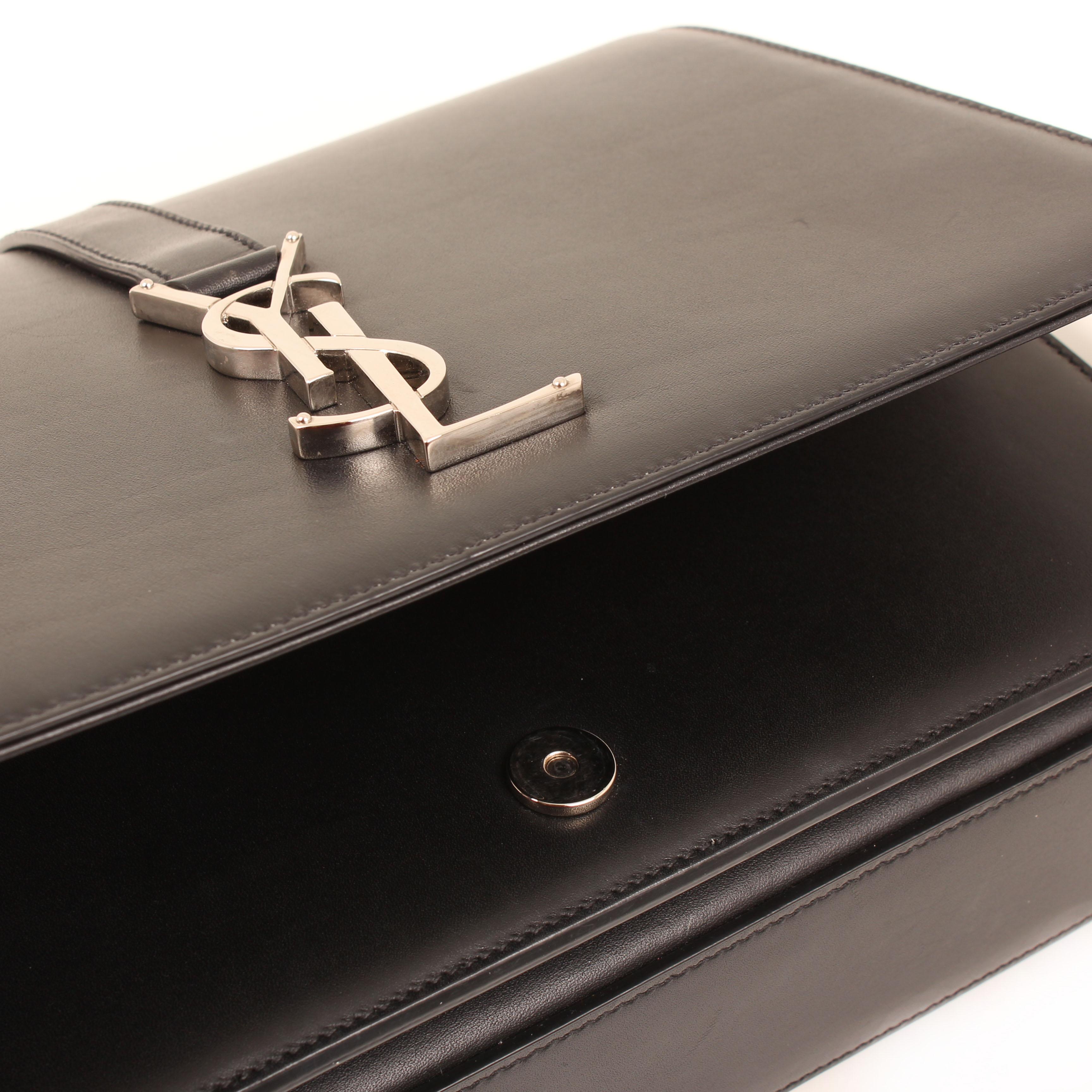 Bolso Yves Saint Laurent Classic Université Mediano piel negra logo cierre