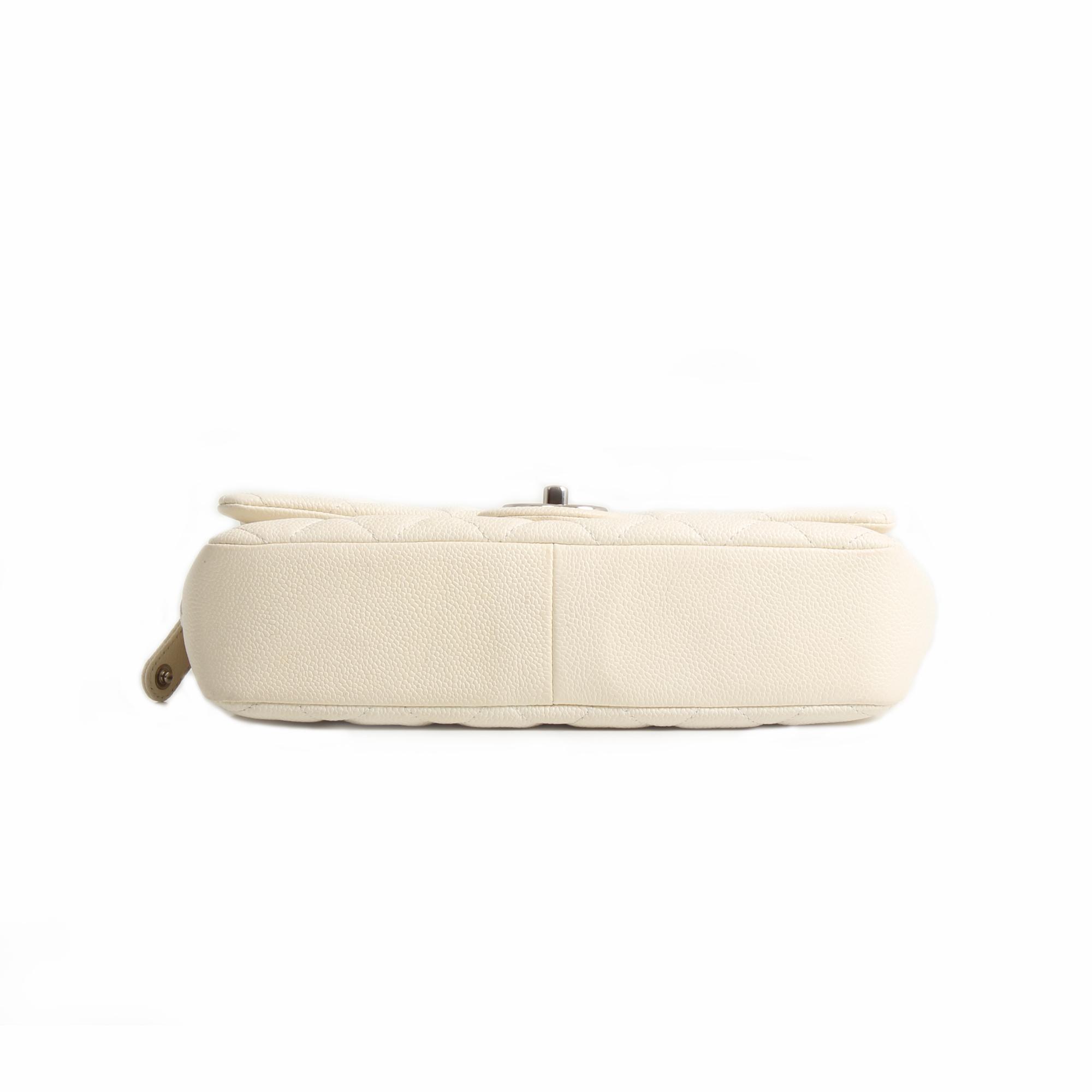 bolso chanel easy zip mediano piel caviar blanca base
