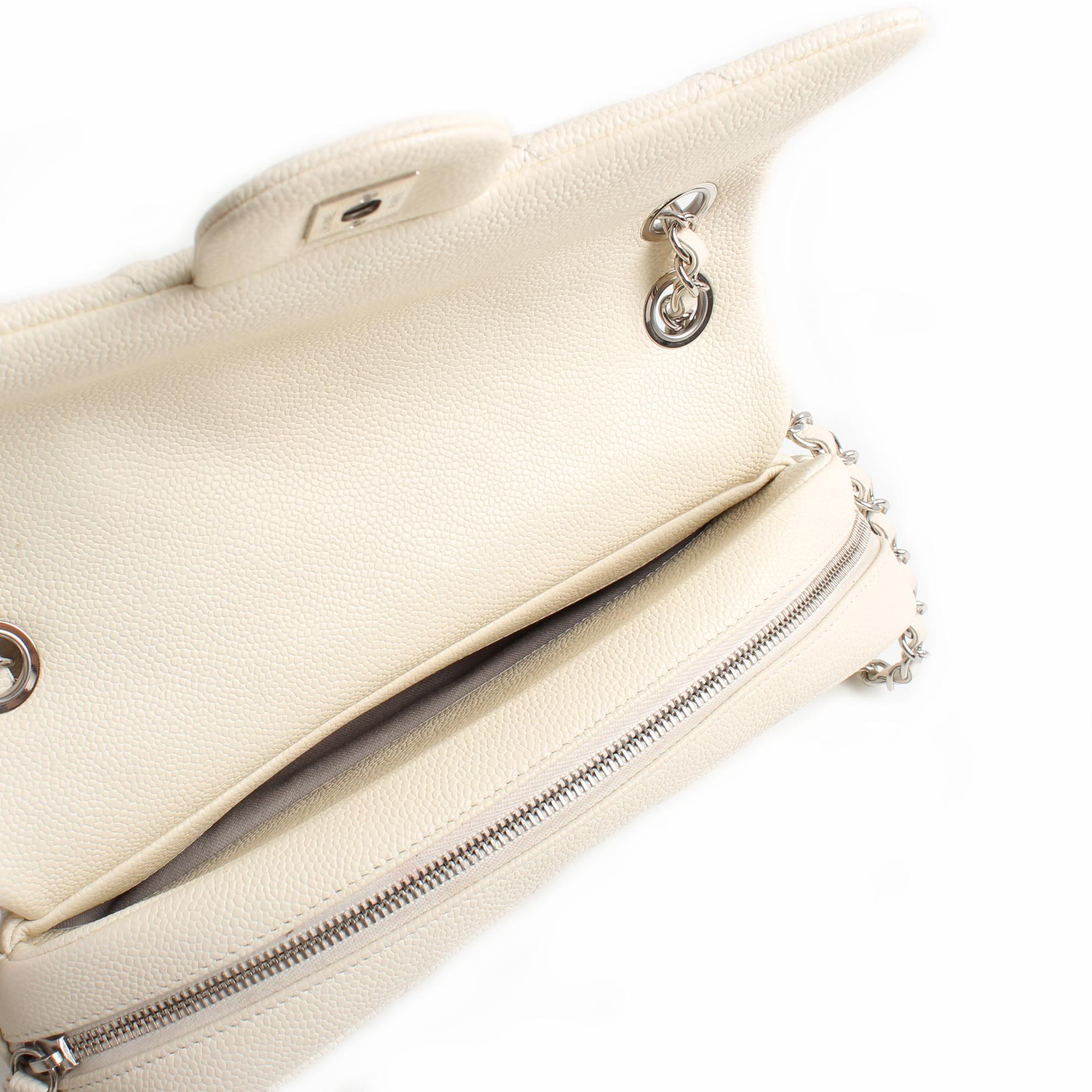 bolso chanel easy zip mediano piel caviar blanca detalle cremallera