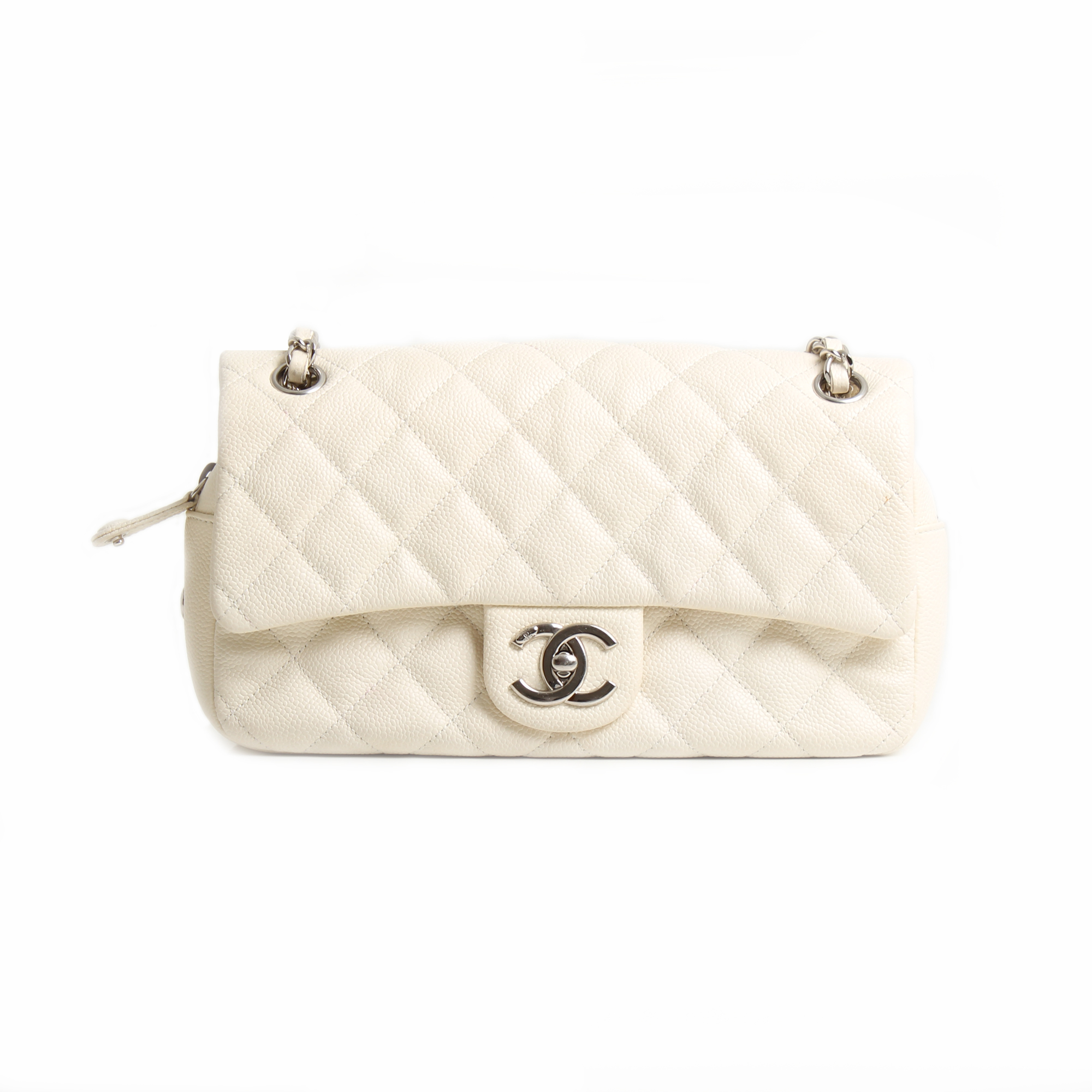 chanel easy zip medium bag white caviar leather front
