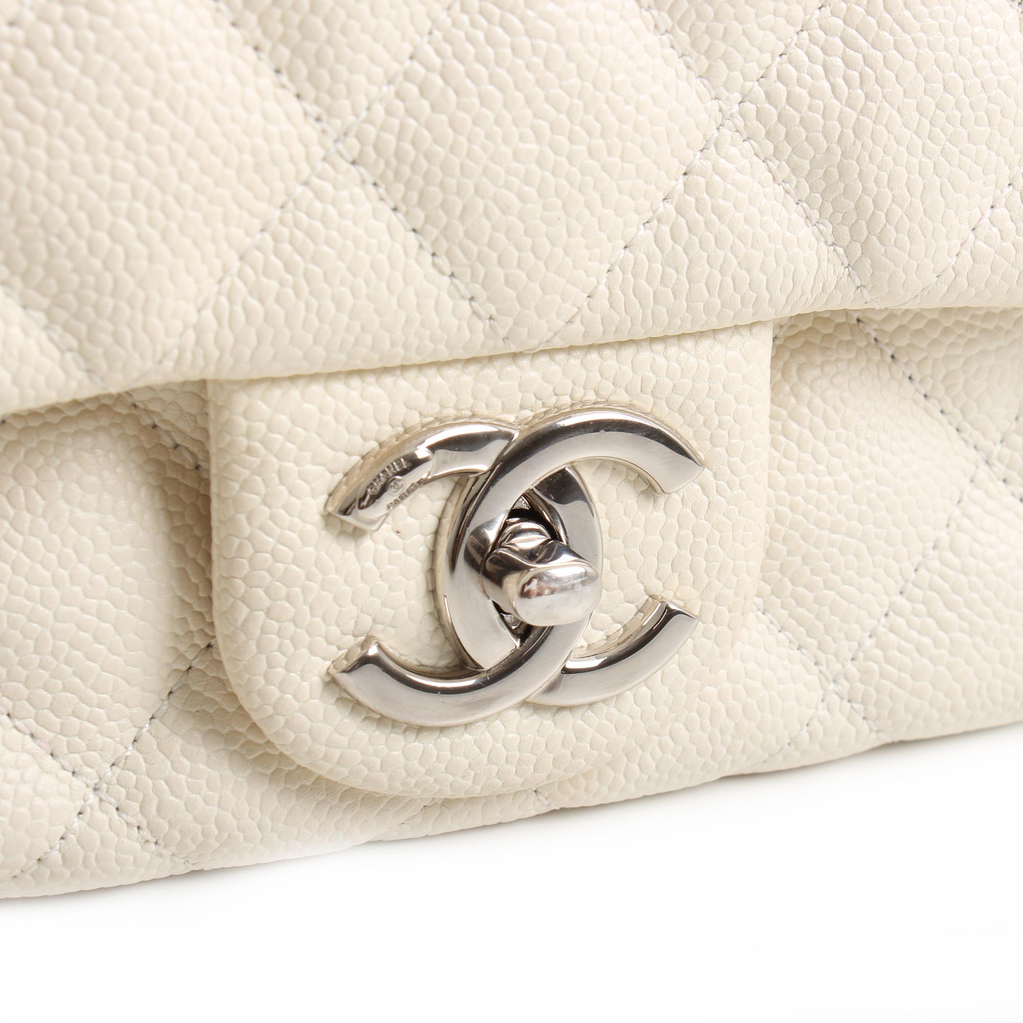 bolso chanel easy zip mediano piel caviar blanca herraje
