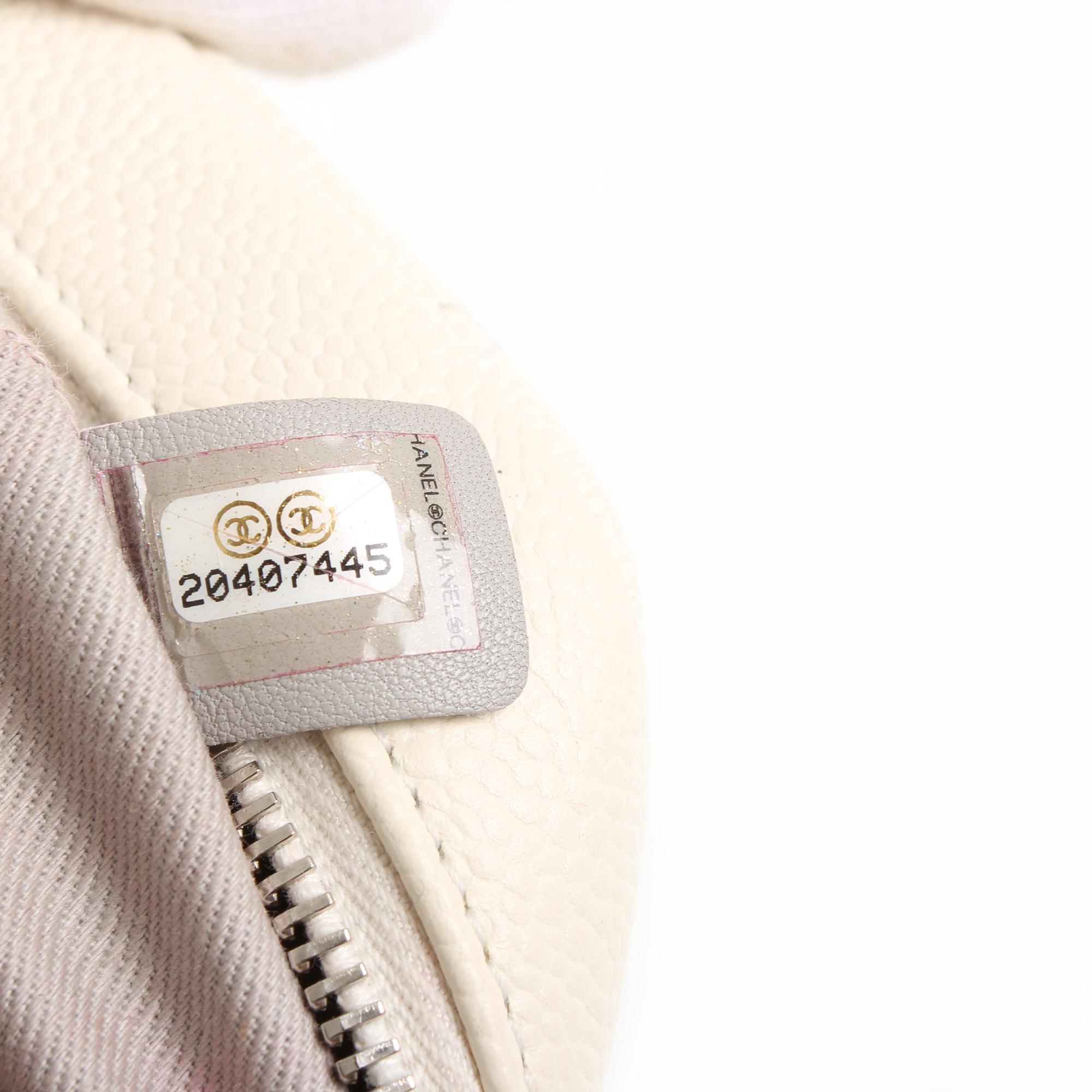 bolso chanel easy zip mediano piel caviar blanca numero de serie