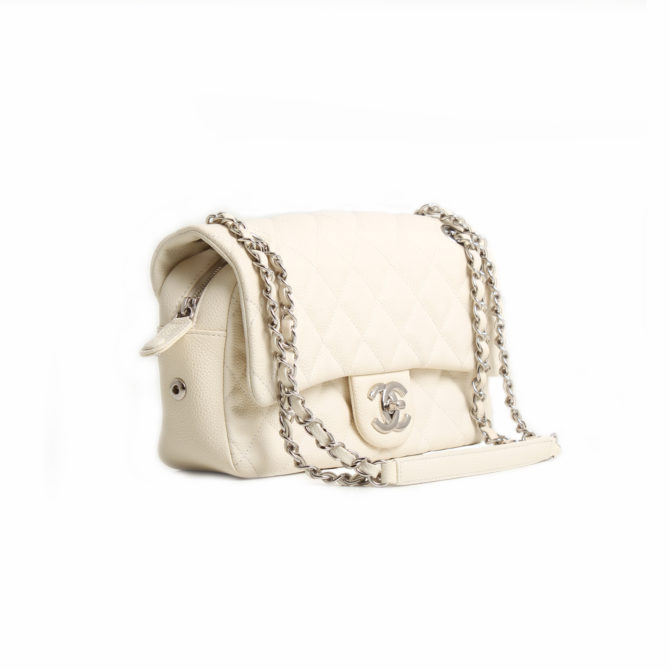 chanel easy zip medium bag white caviar leather general
