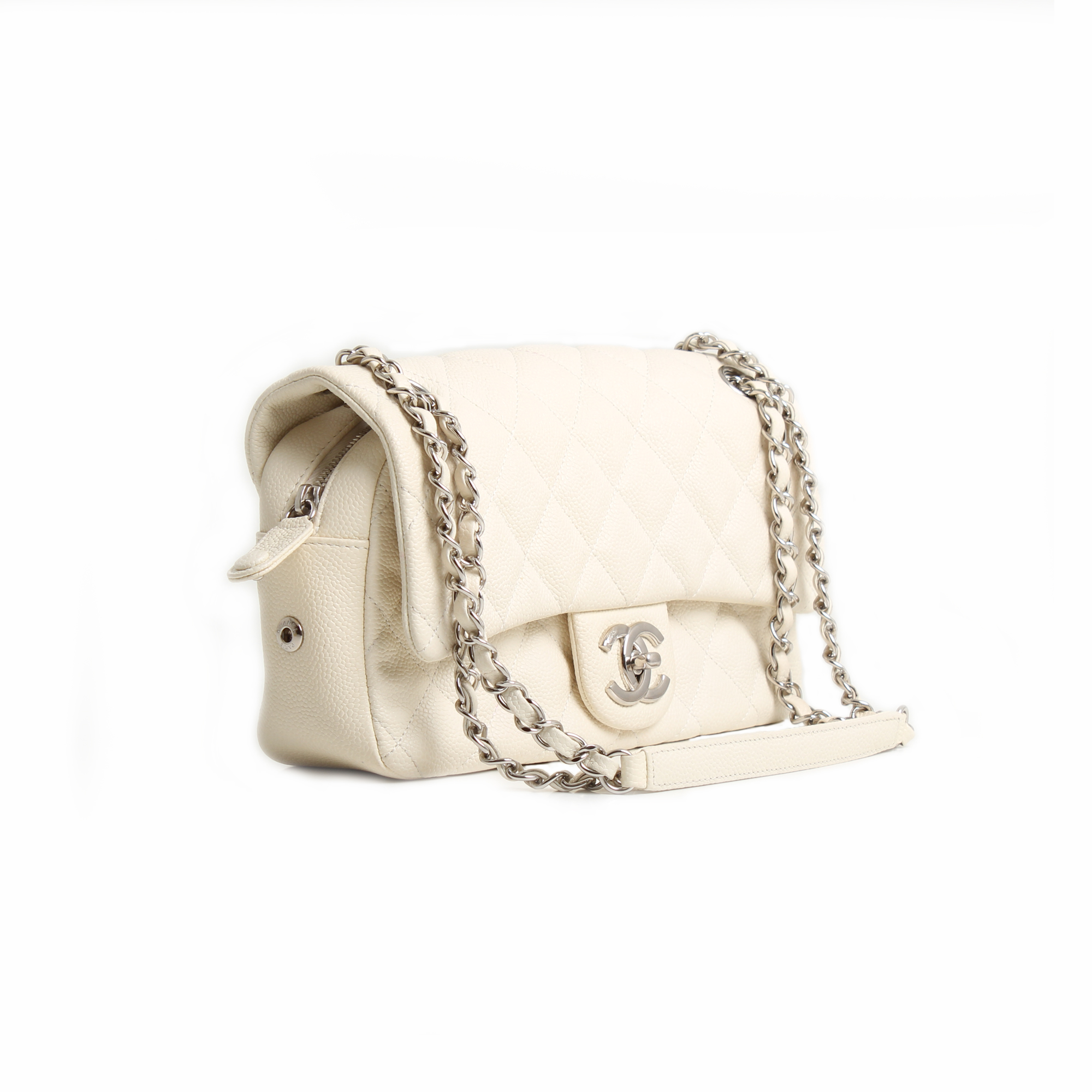 cdd91e42adf2 chanel easy zip medium bag white caviar leather front