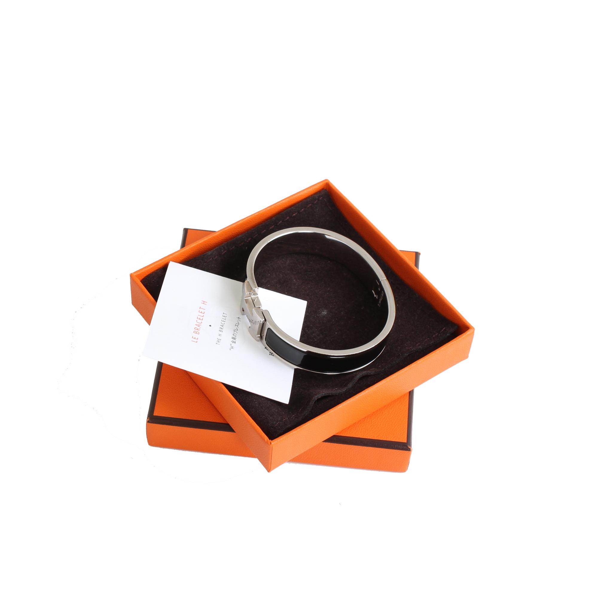 Extras image of hermes clic clac h bracelet silver enamelwork black