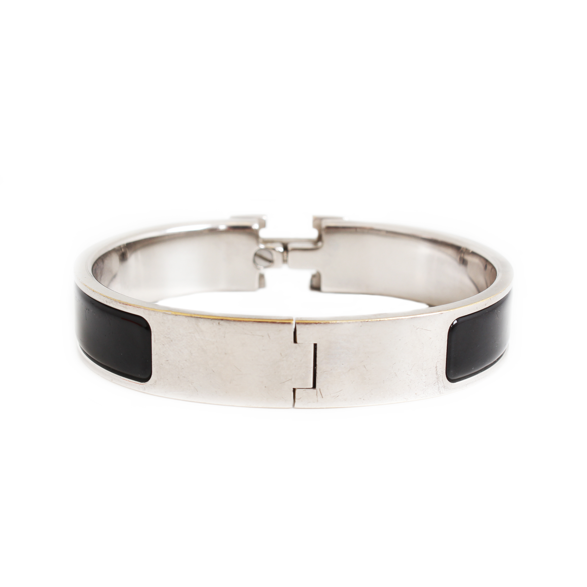 Back image of hermes clic clac h bracelet silver enamelwork black