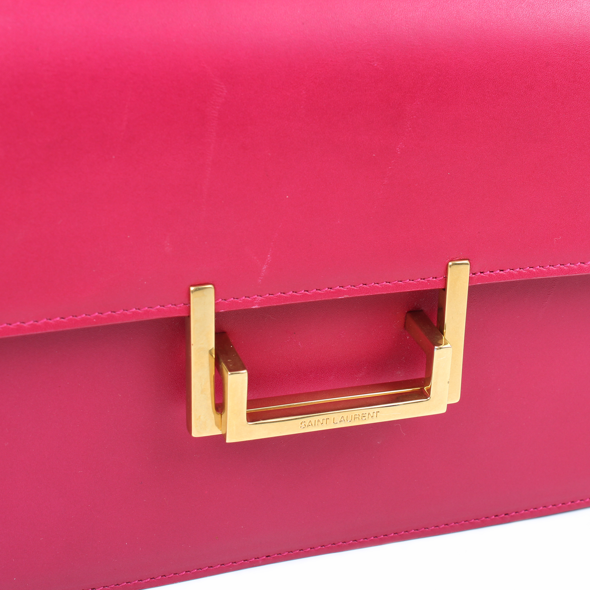 Image of the flap of Yves Saint Laurent Lulu shoulder bag