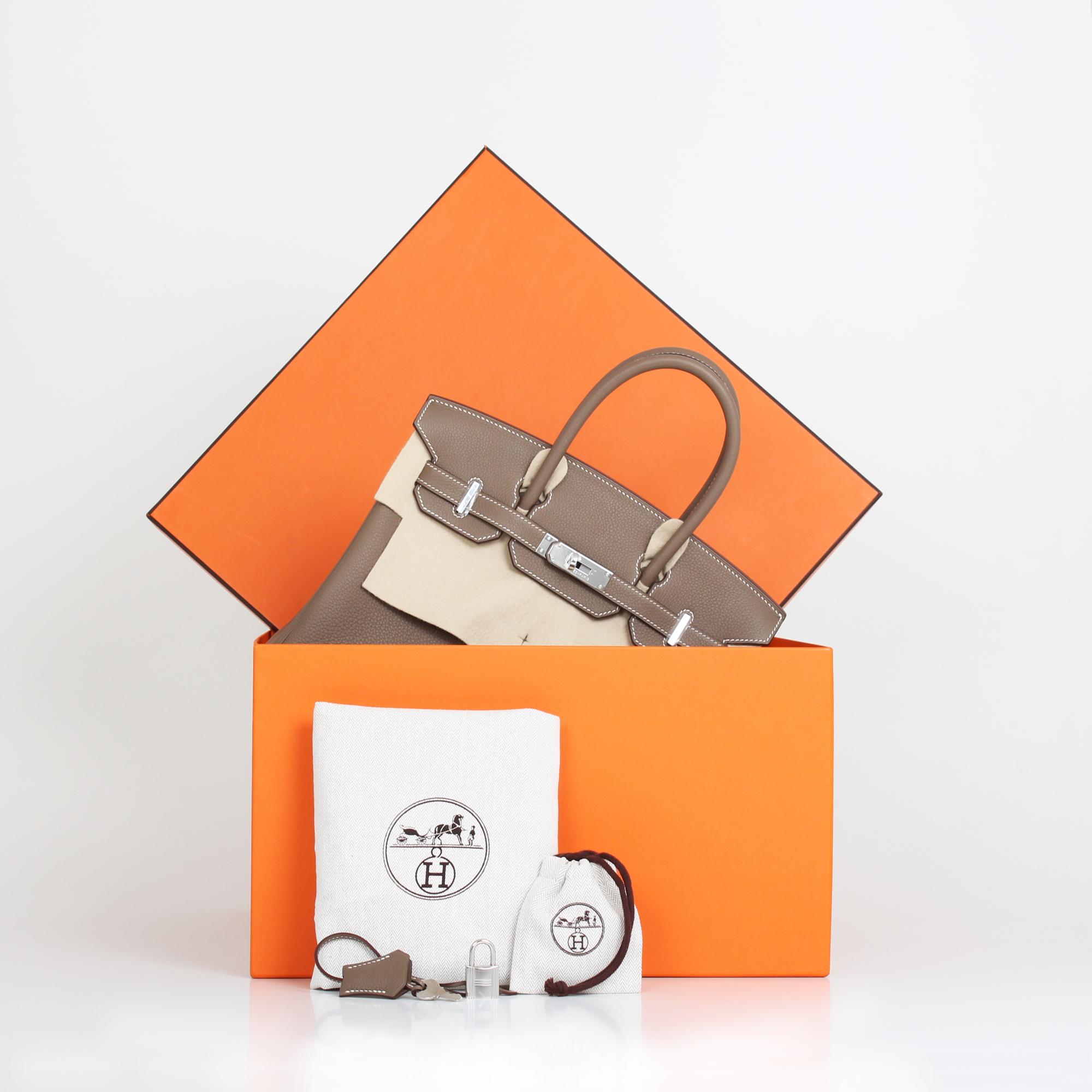 Extras image of hermes birkin bag taupe togo