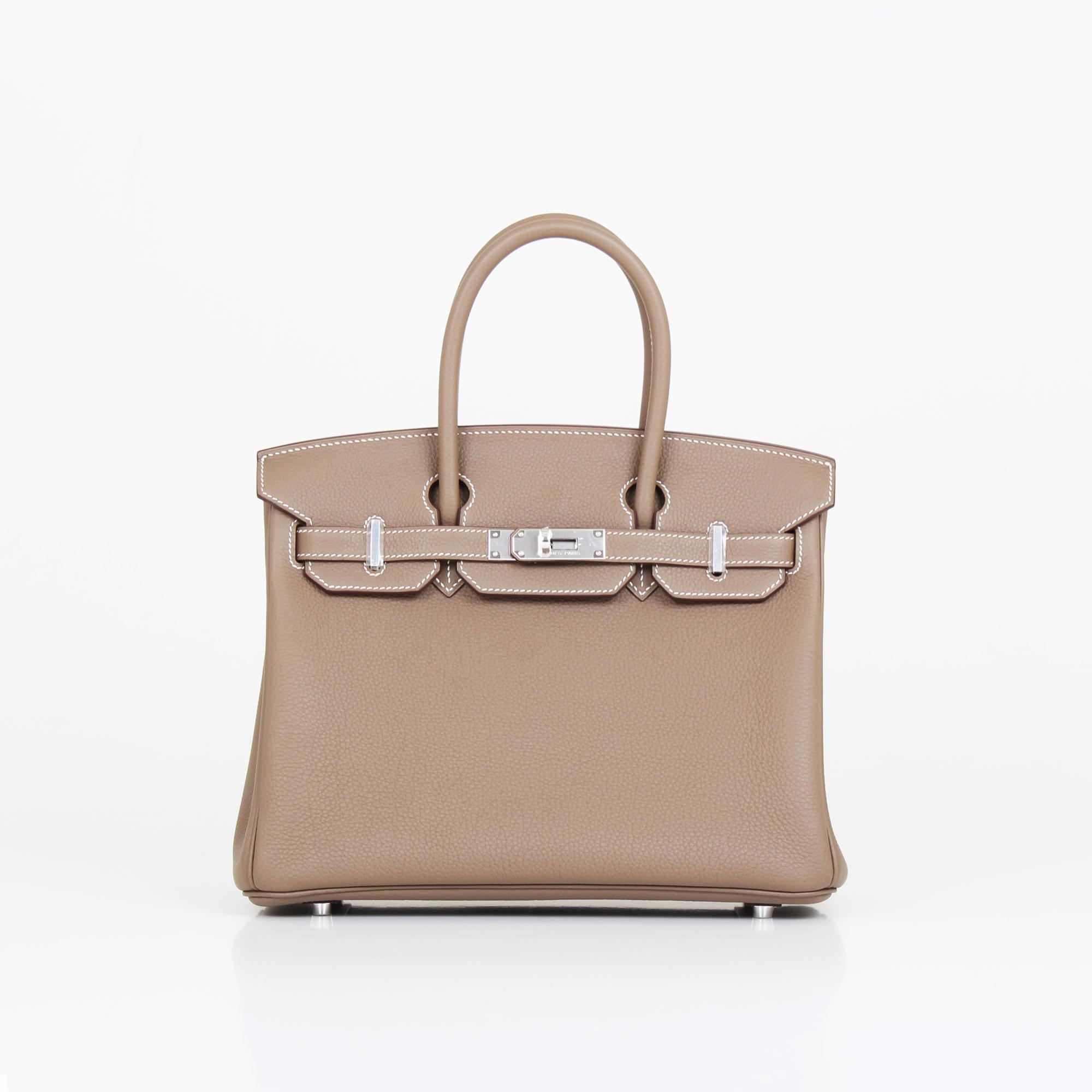 Front image of hermes birkin bag taupe togo