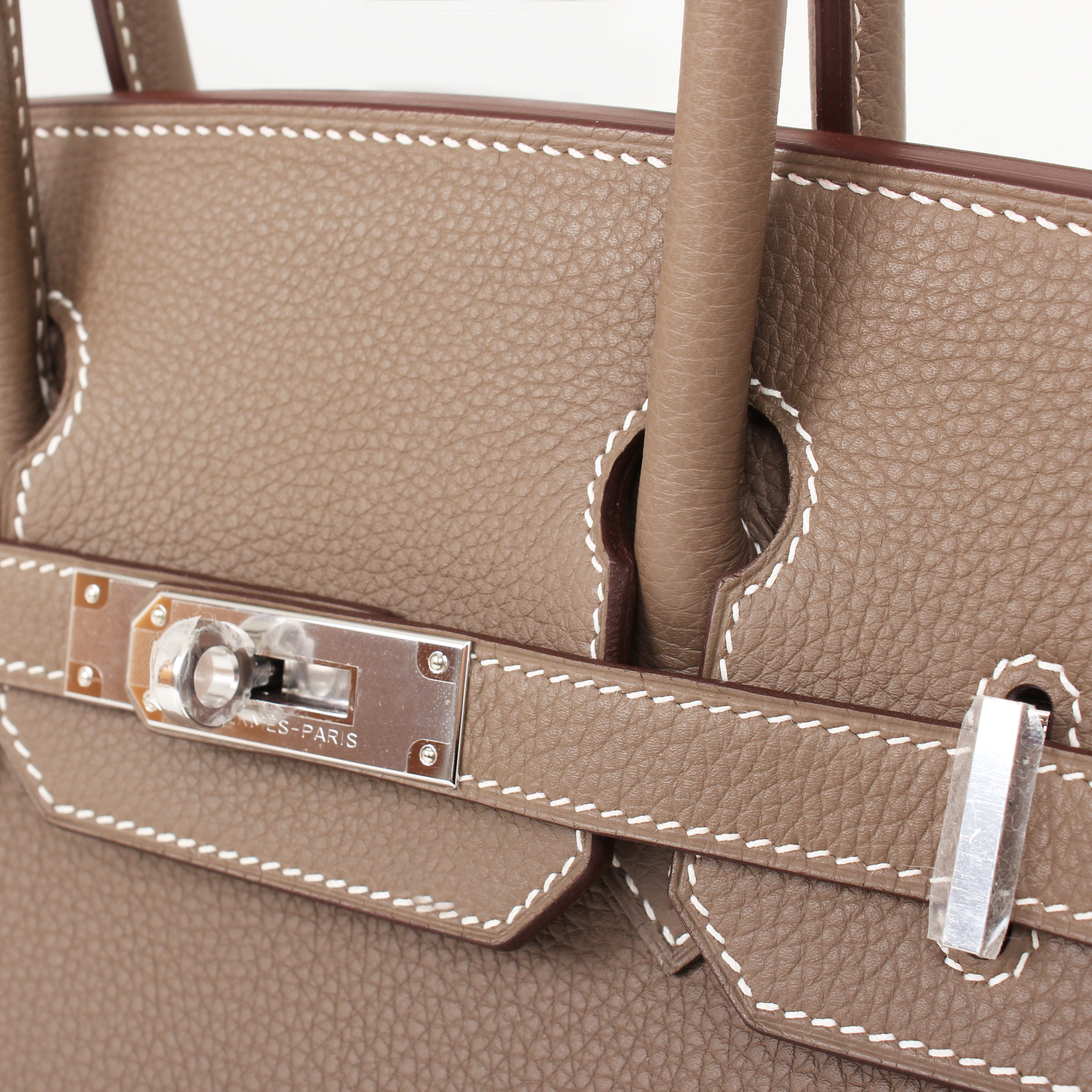 Image of the hardware of hermes birkin bag taupe togo