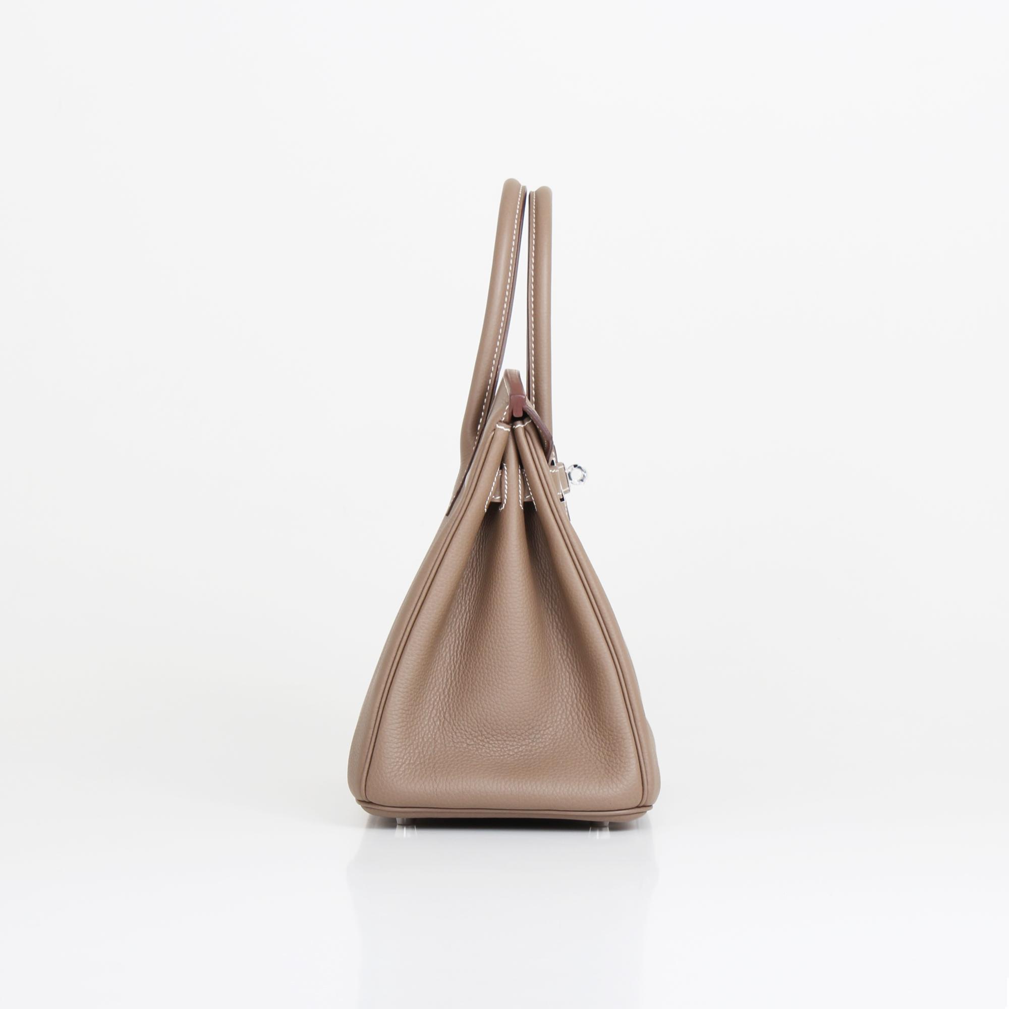 Side image of hermes birkin bag taupe togo
