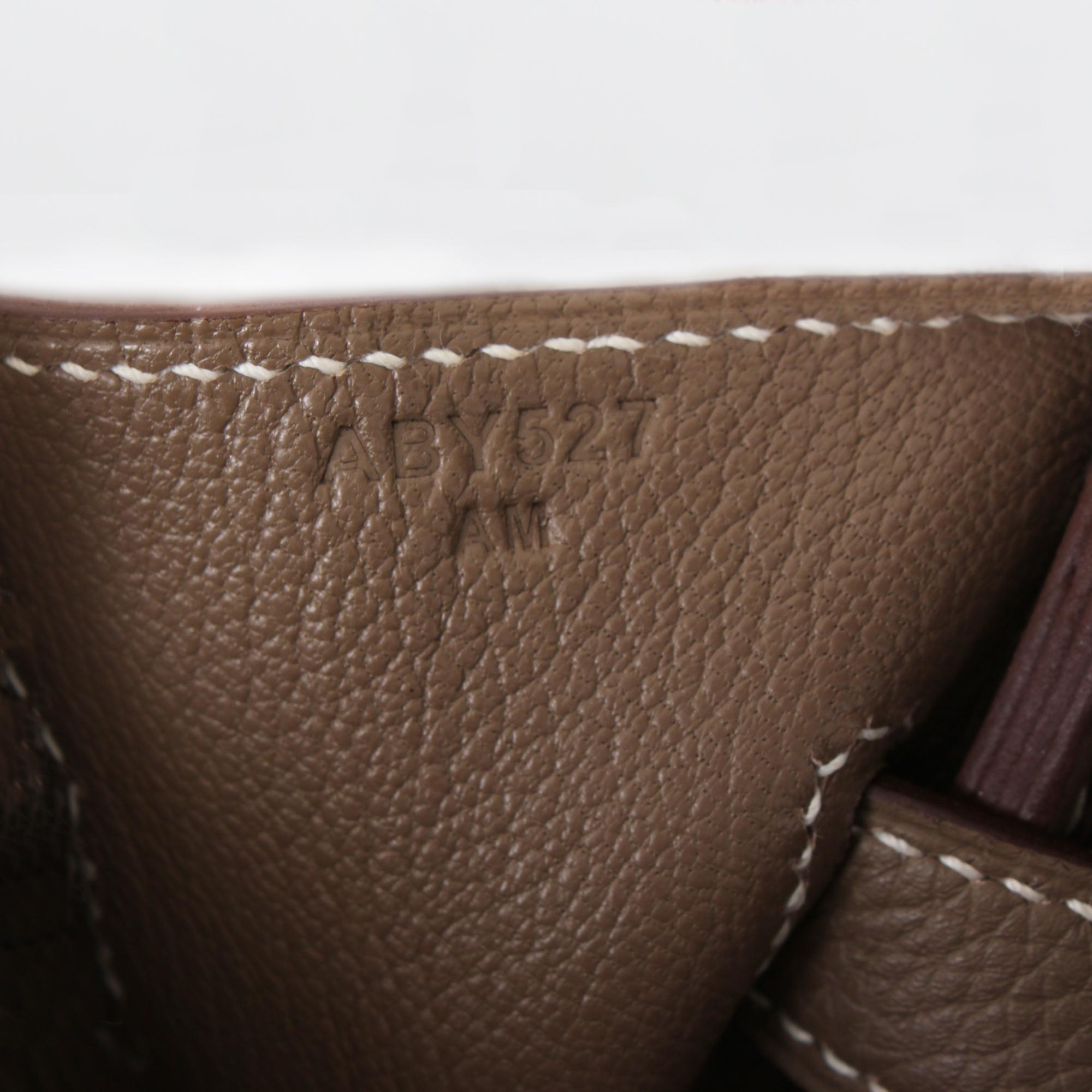 Serial number image of hermes birkin bag taupe togo
