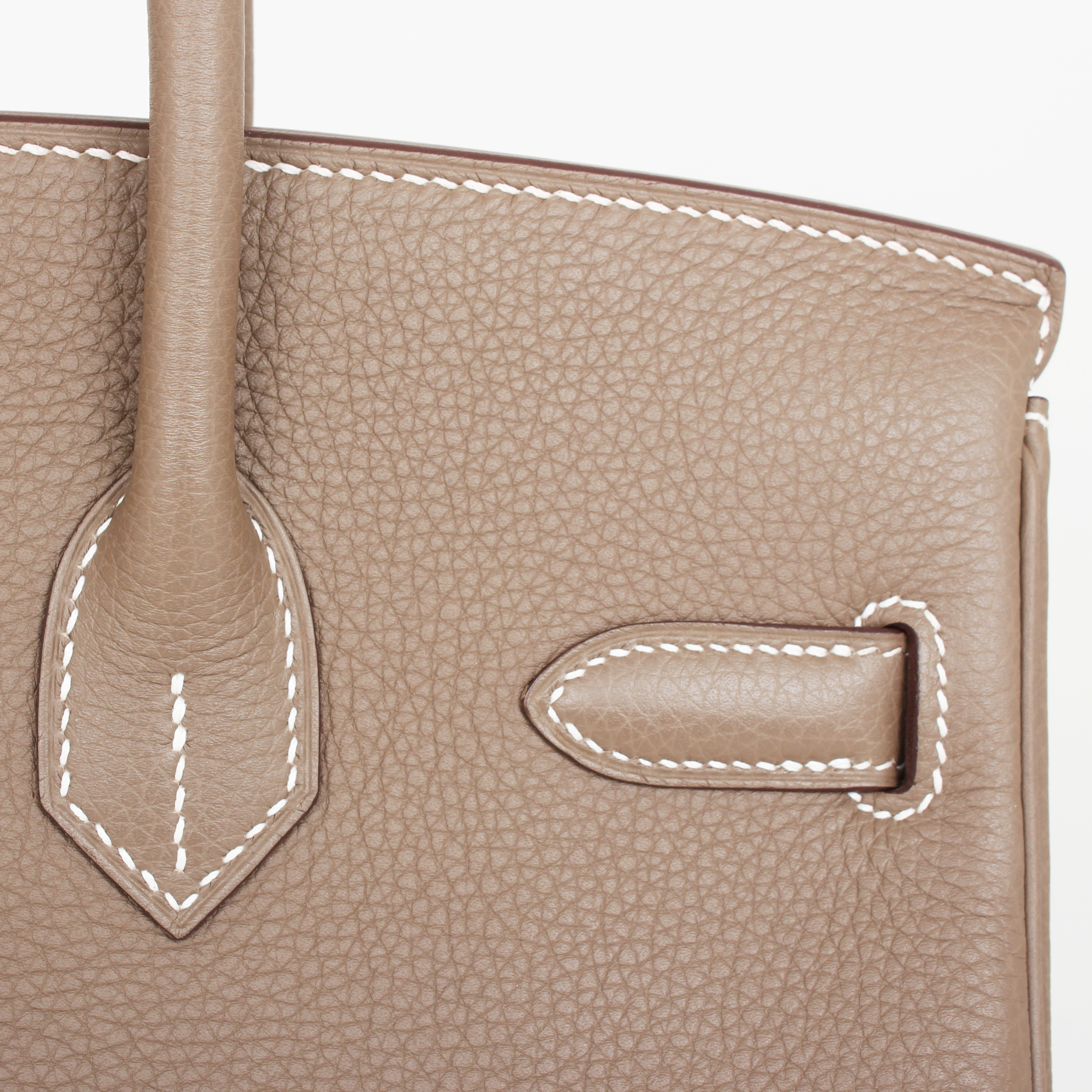 Leather detail image of hermes birkin bag taupe togo