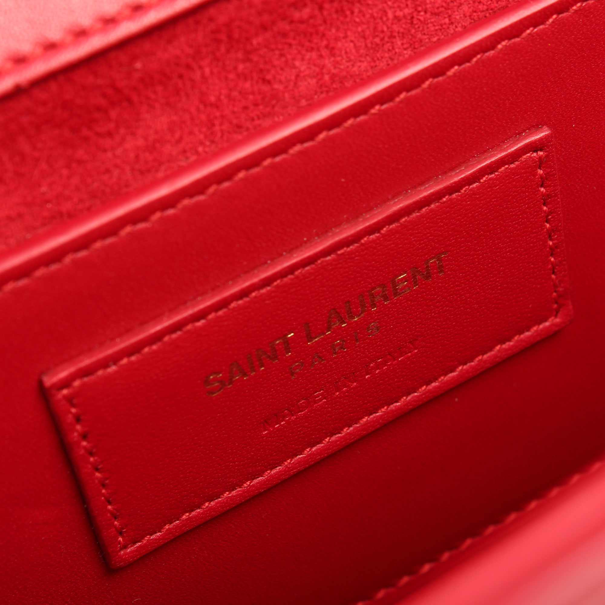 Interior tag image of ysl kate medium bag red calfskin leather