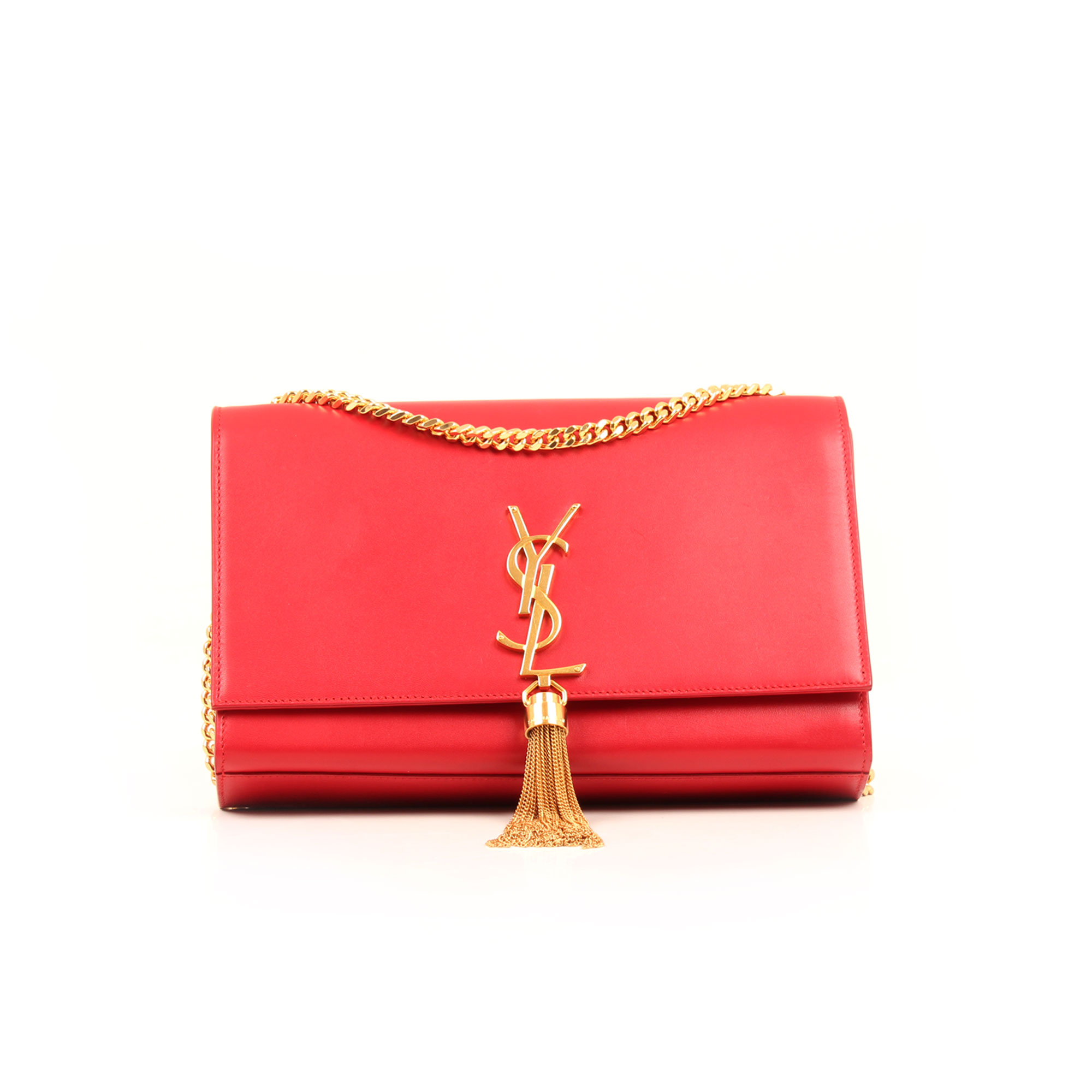 Front image of ysl kake medium bag red calfskin leather