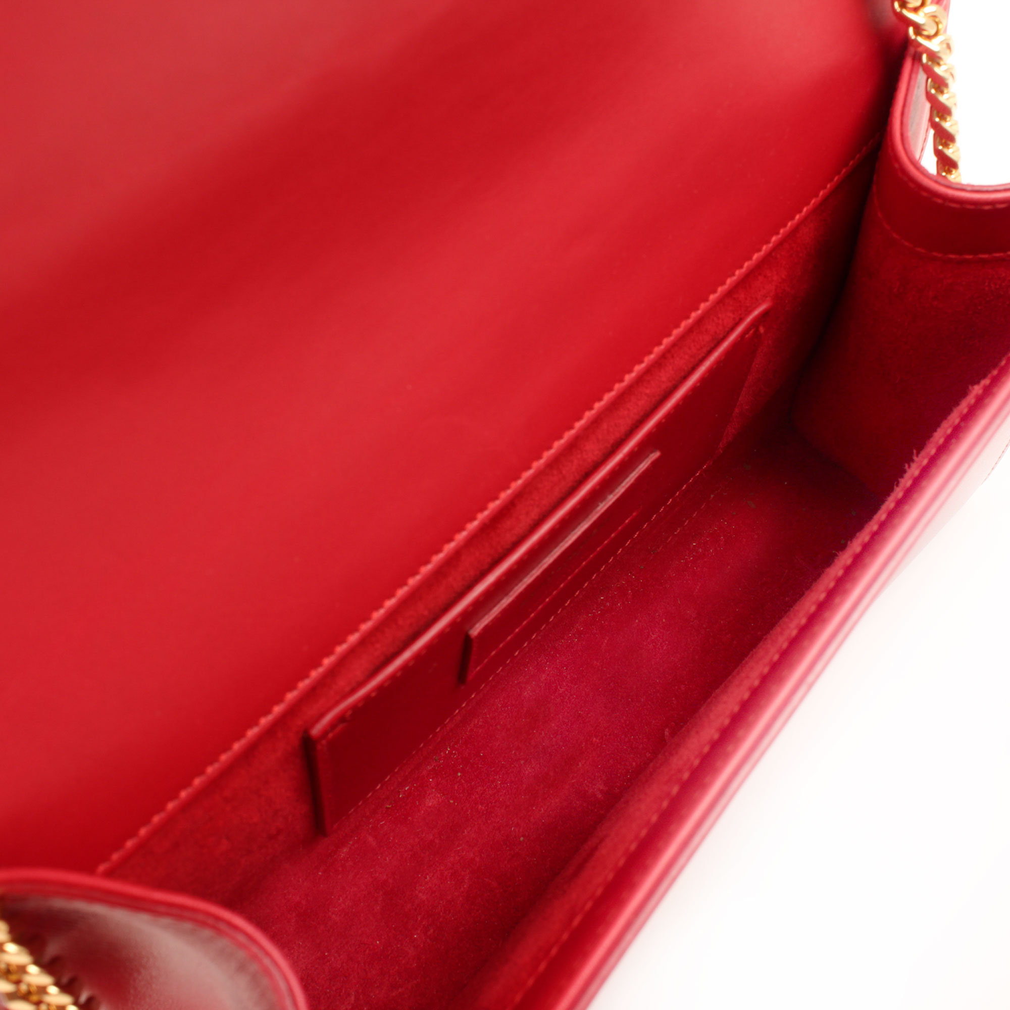 Interior image of ysl kate medium bag red calfskin leather