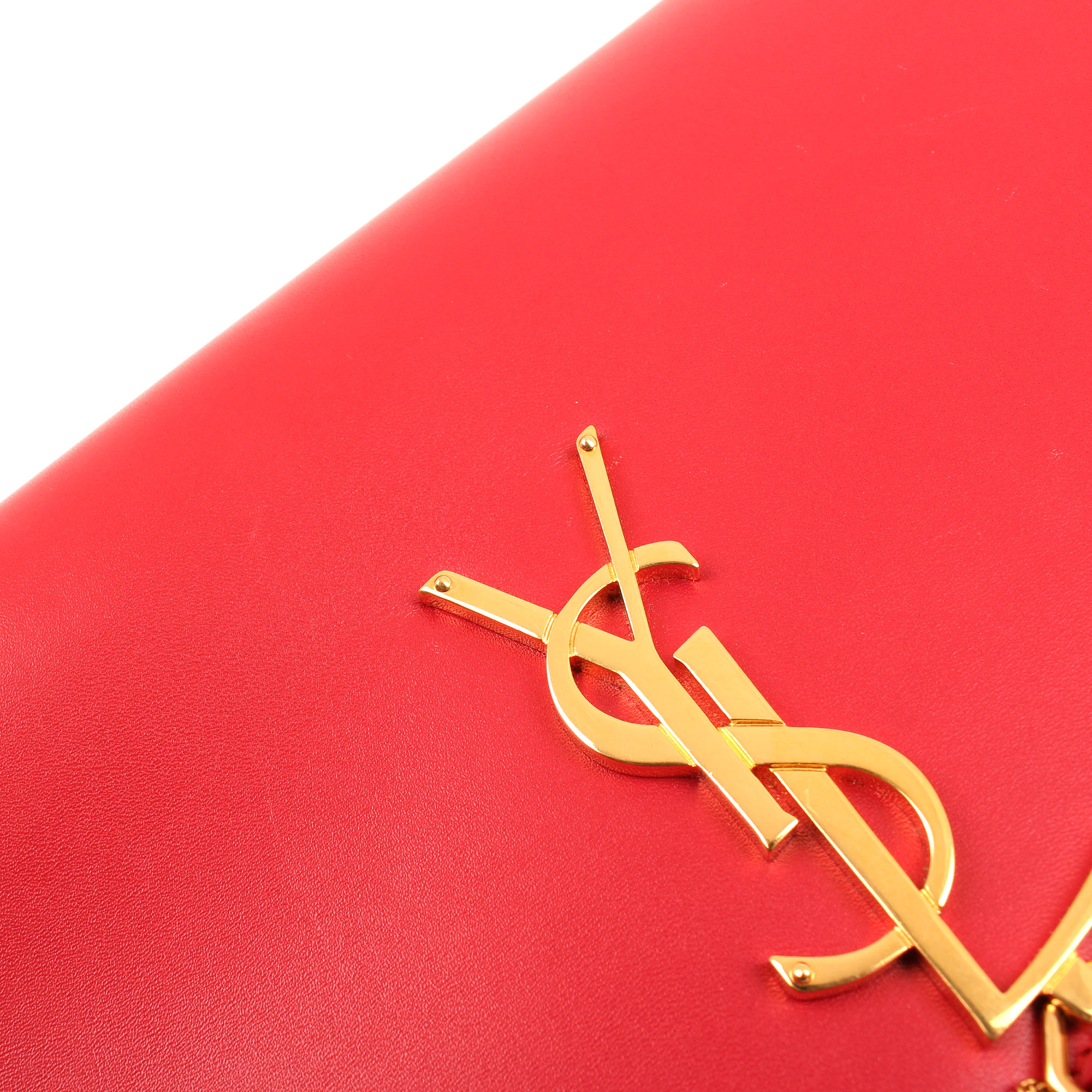 Detail image of ysl kate medium bag red calfskin leather