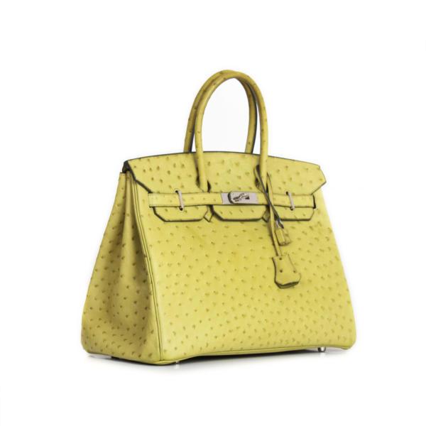 Imagen general del bolso Hermès Birkin 35 Piel de avestruz color anís