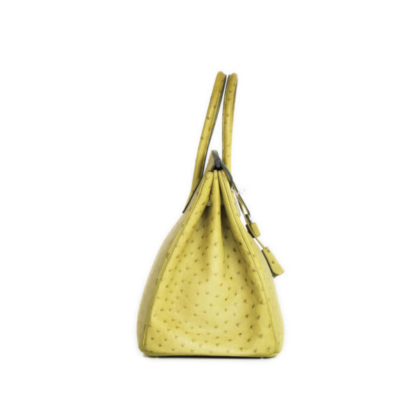 Imagen lateral del bolso Hermès Birkin 35 Piel de avestruz color anís