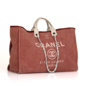 470f7939a5b0 Chanel Deauville Pink and White GM Tote Bag