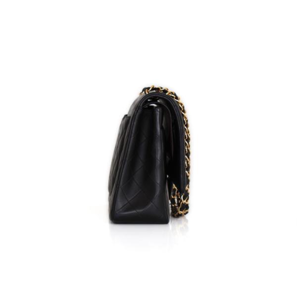 Chanel Timeless Maxi Double Flap black lambskin handbag