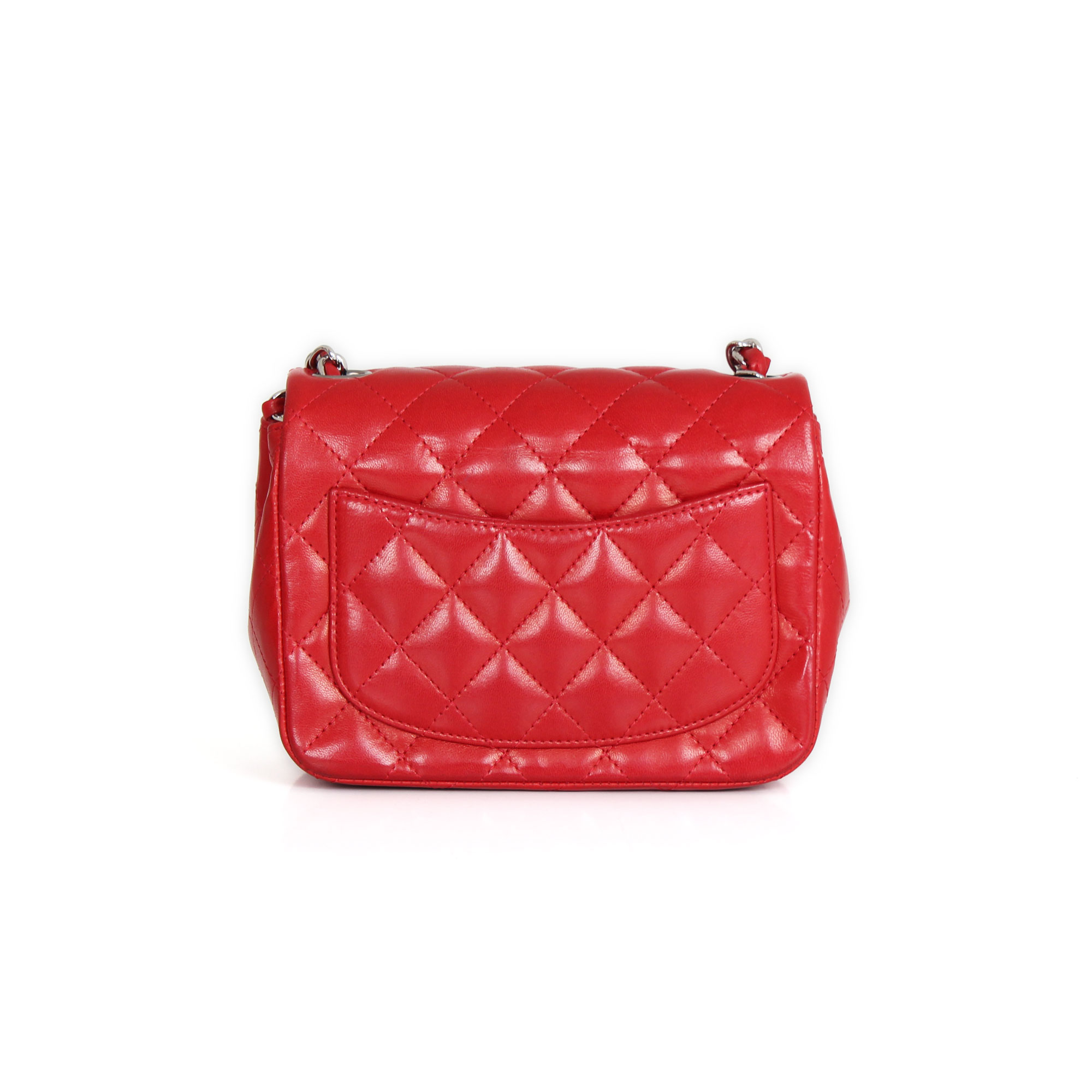 7370132ee45341 Chanel Timeless Mini Square Red lambskin leather | CBL Bags