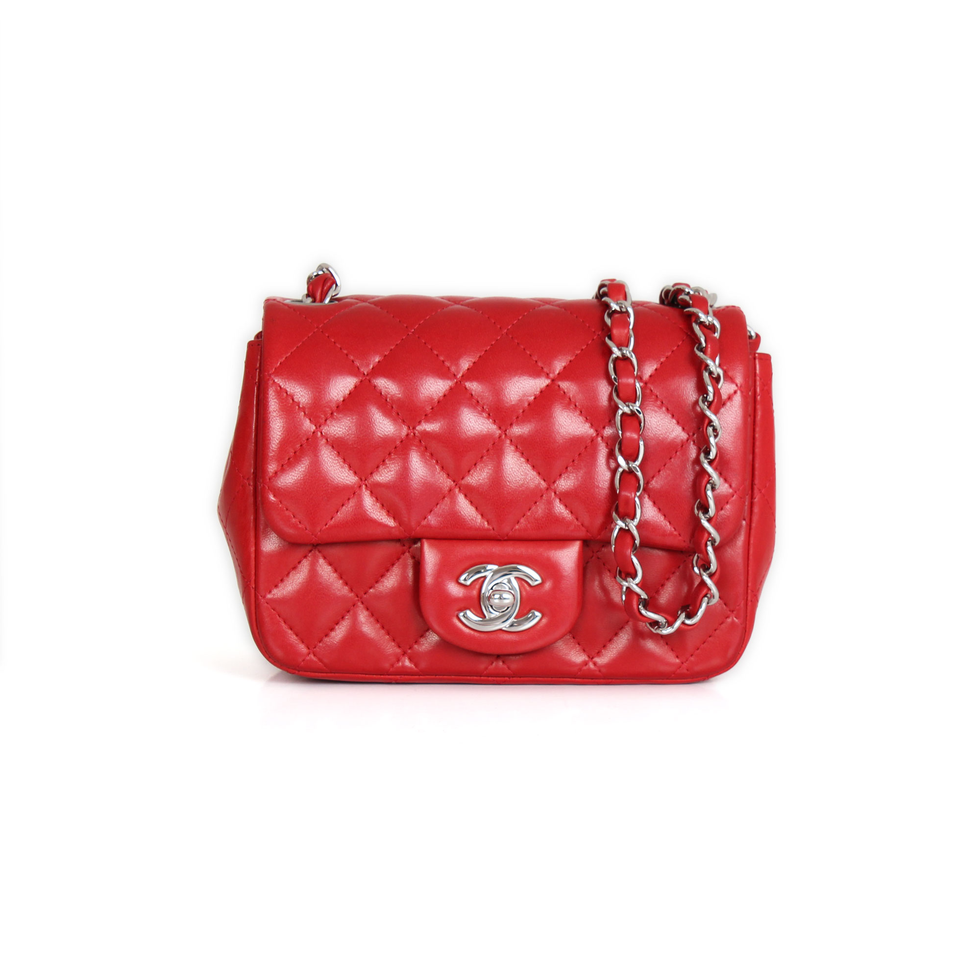 4b4b7e869c3c Chanel Timeless Mini Square Red lambskin leather | CBL Bags