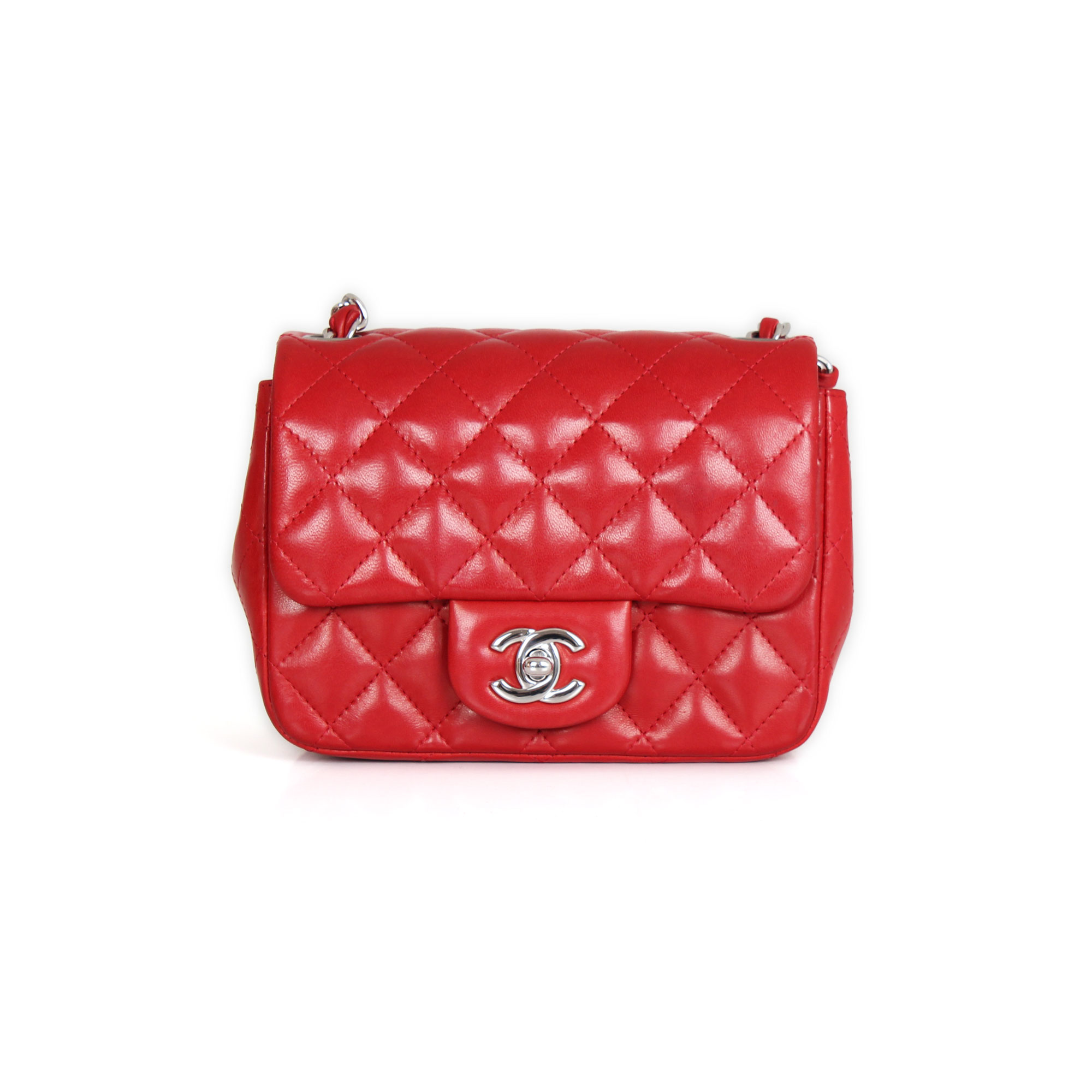55a8e0382f69 Chanel Timeless Mini Square Red lambskin leather | CBL Bags