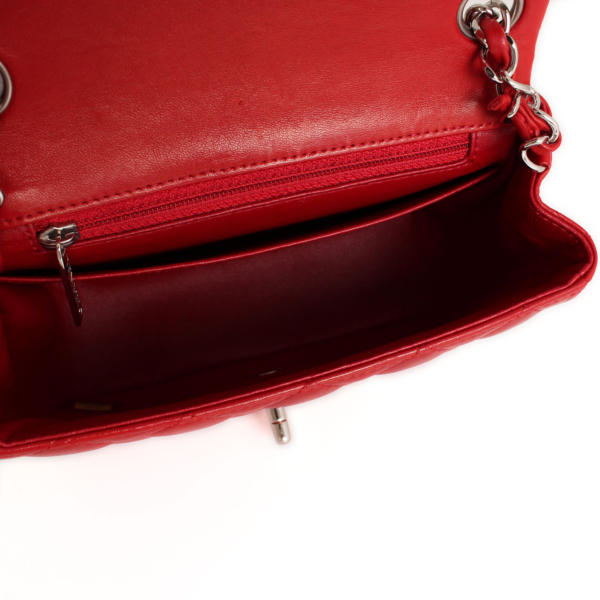chanel red lambskin leather timeless mini square