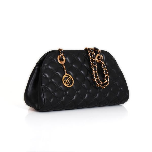 chopard coctail imperiale black leather handbag