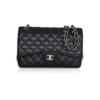 75d5a08605cf Chanel Timeless Jumbo Caviar Black Leather Handbag