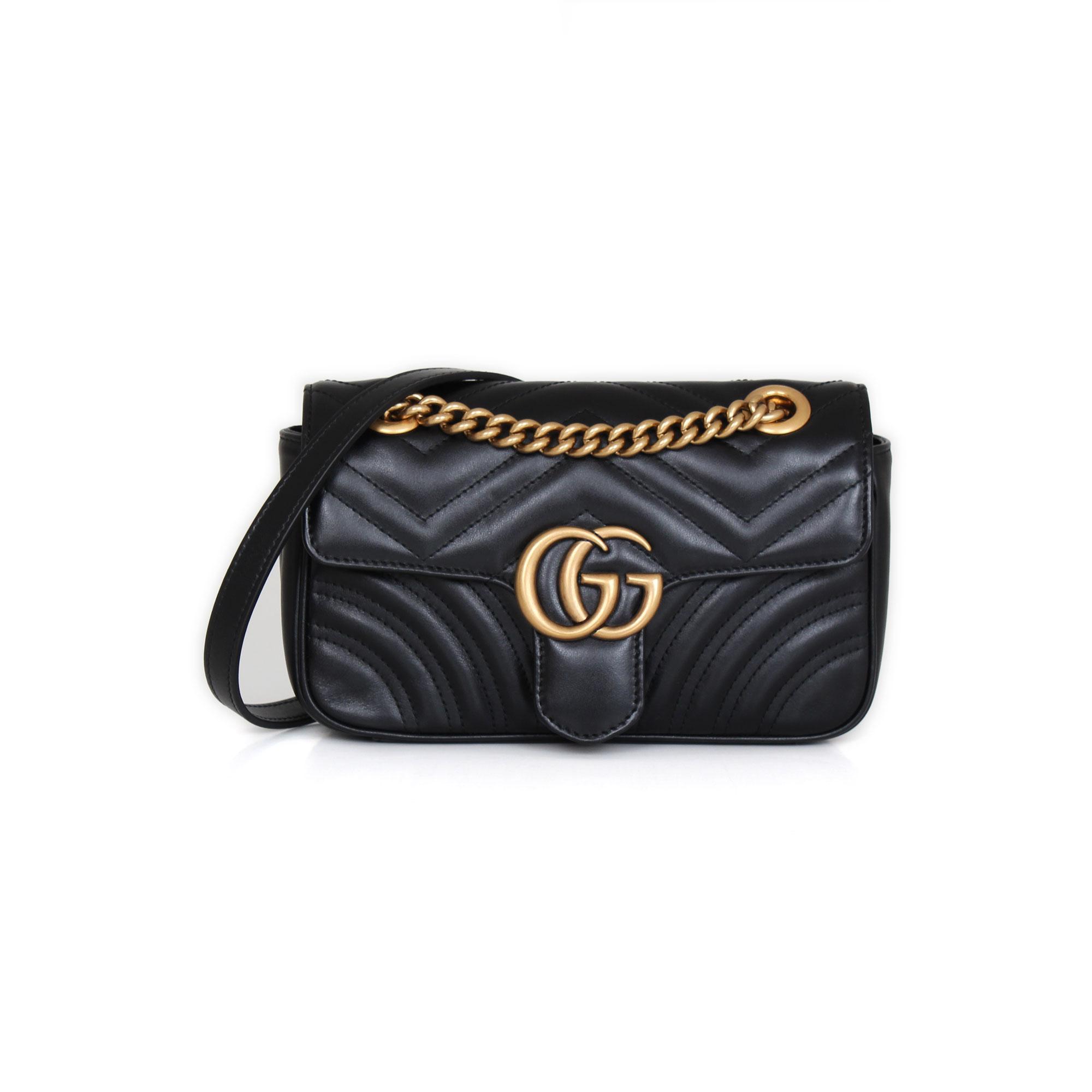 Gucci Gg Mini Marmont Black Cowhide Leather Cbl Bags