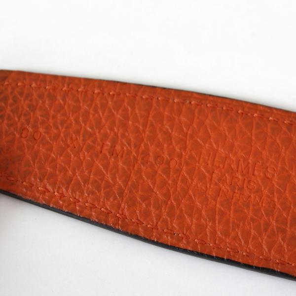 Cinto Hermès Constance H Piel naranja y negro