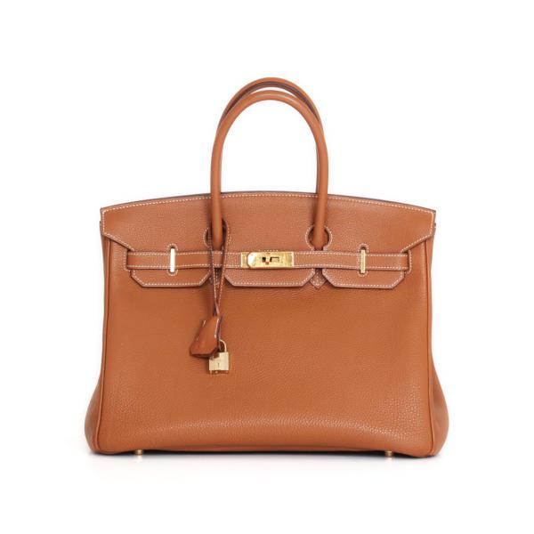 Bolso Hermès Birkin 35 piel Togo Gold y herrajes dorados.