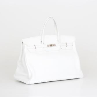 Bolso Hermès Birkin 35 Piel Clemence blanco.